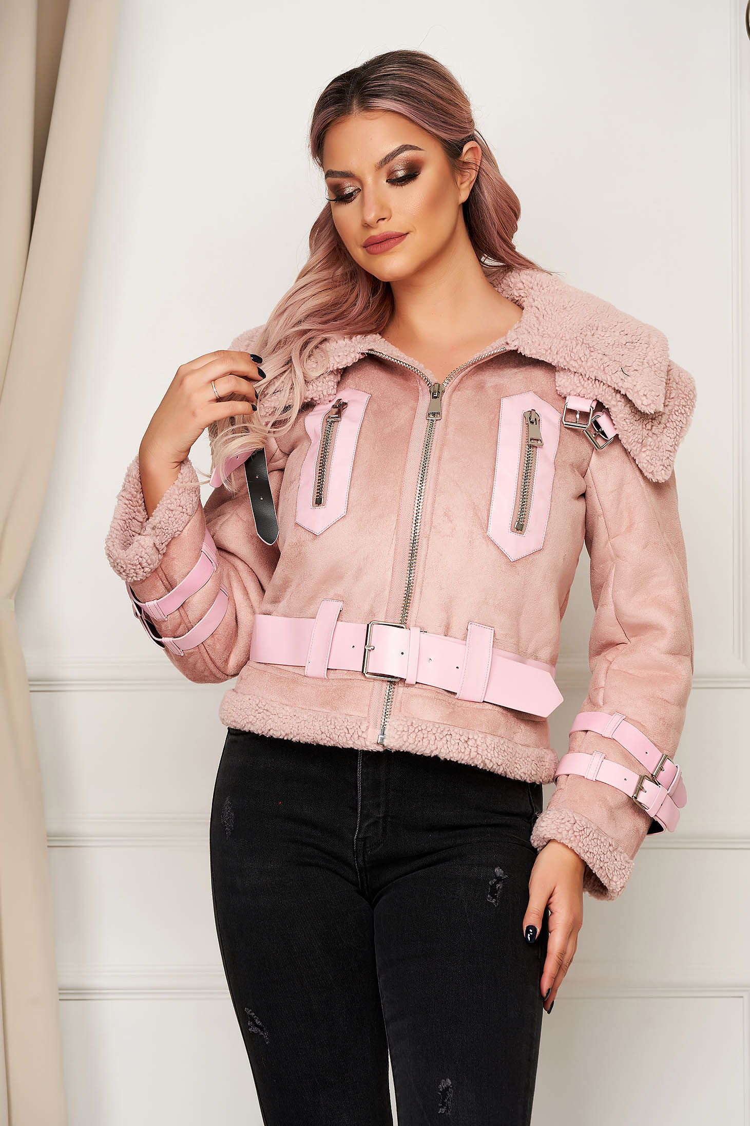Pink jacket casual from ecological suede with faux fur lining