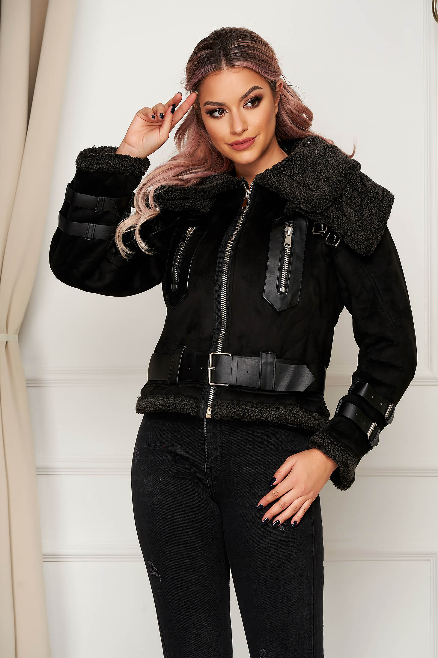 Black jacket casual from ecological suede with faux fur lining