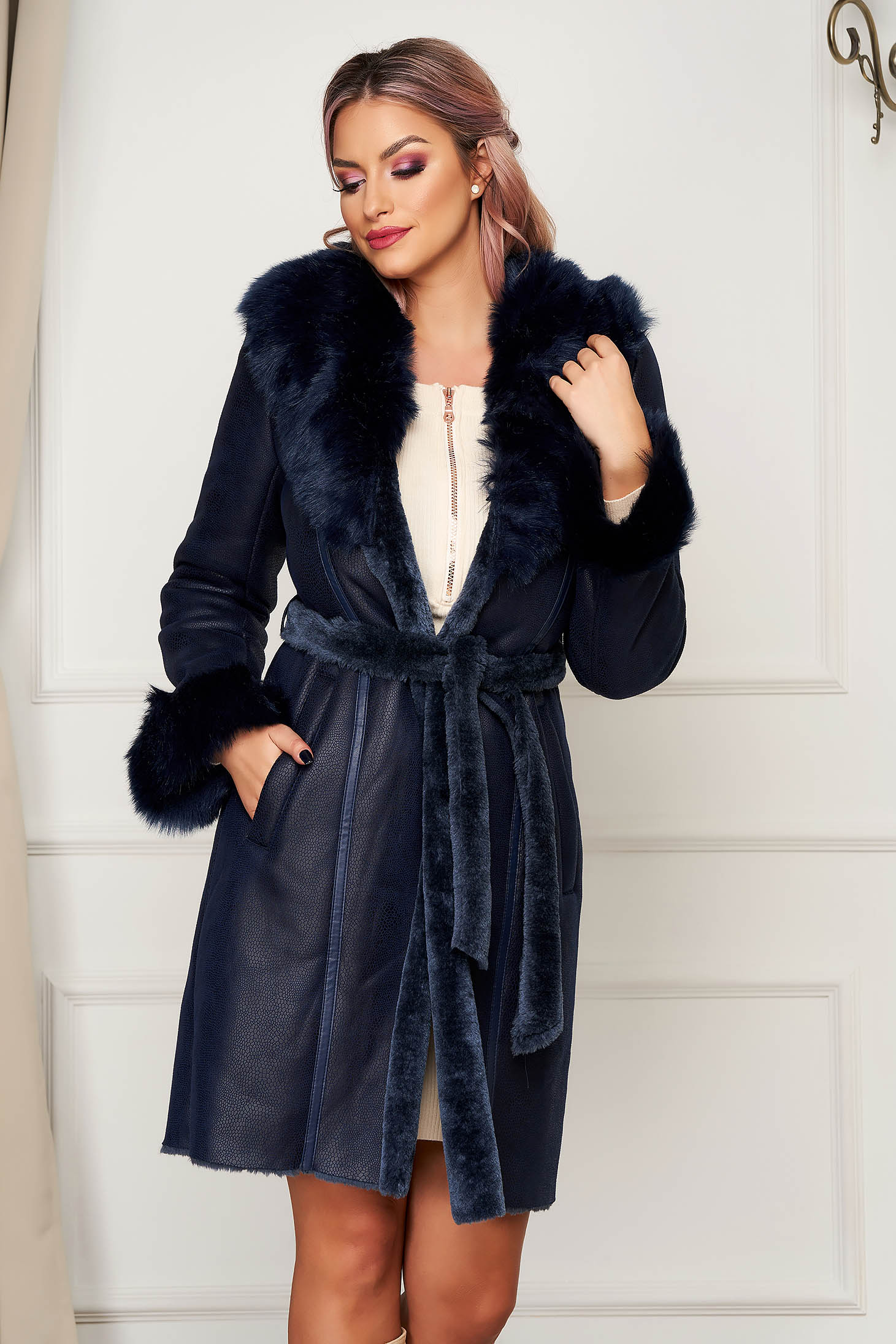 Darkblue fur midi elegant from ecological fur with pockets