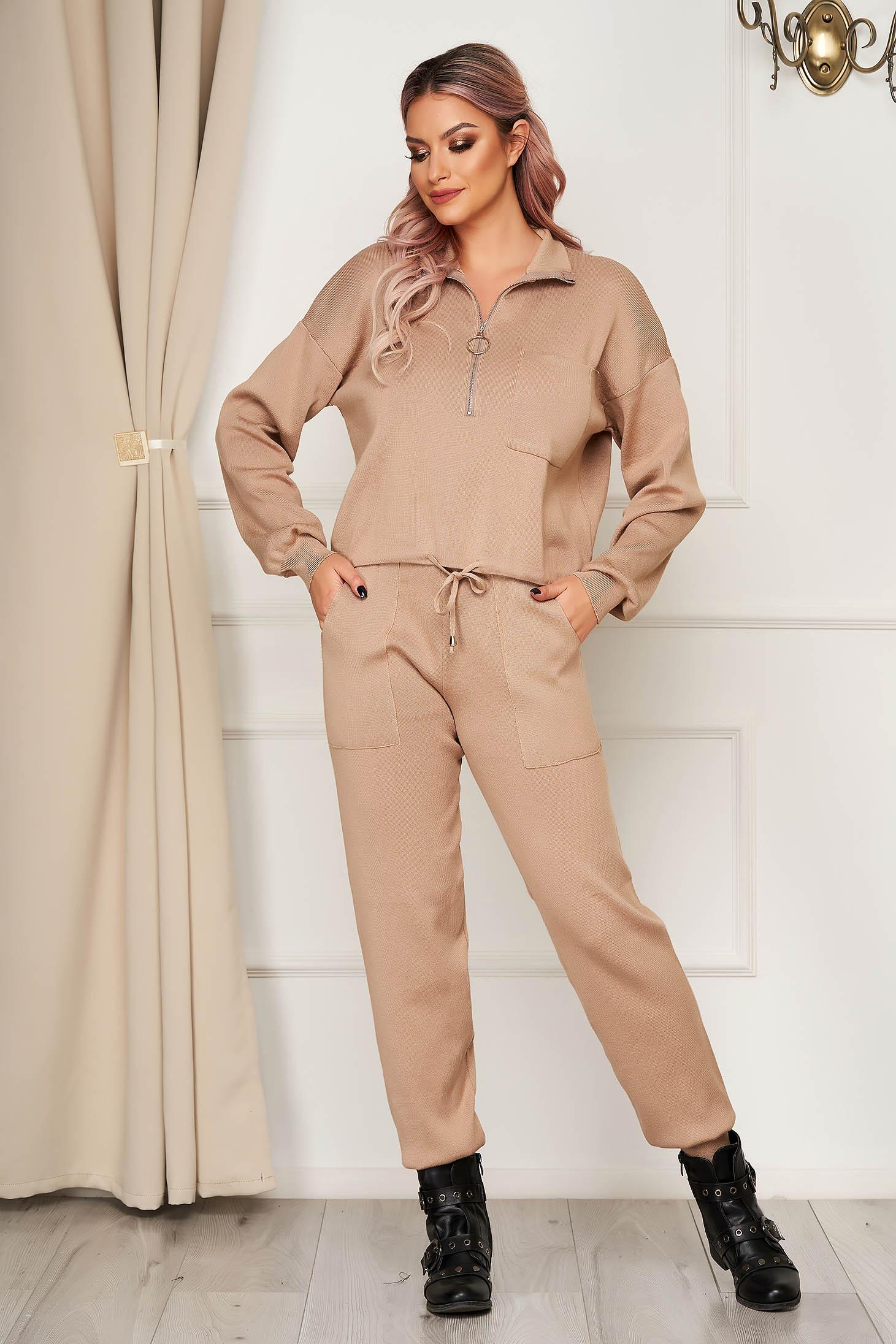 Compleu SunShine crem tricotat casual din 2 piese cu pantaloni cu croi larg cu elastic in talie