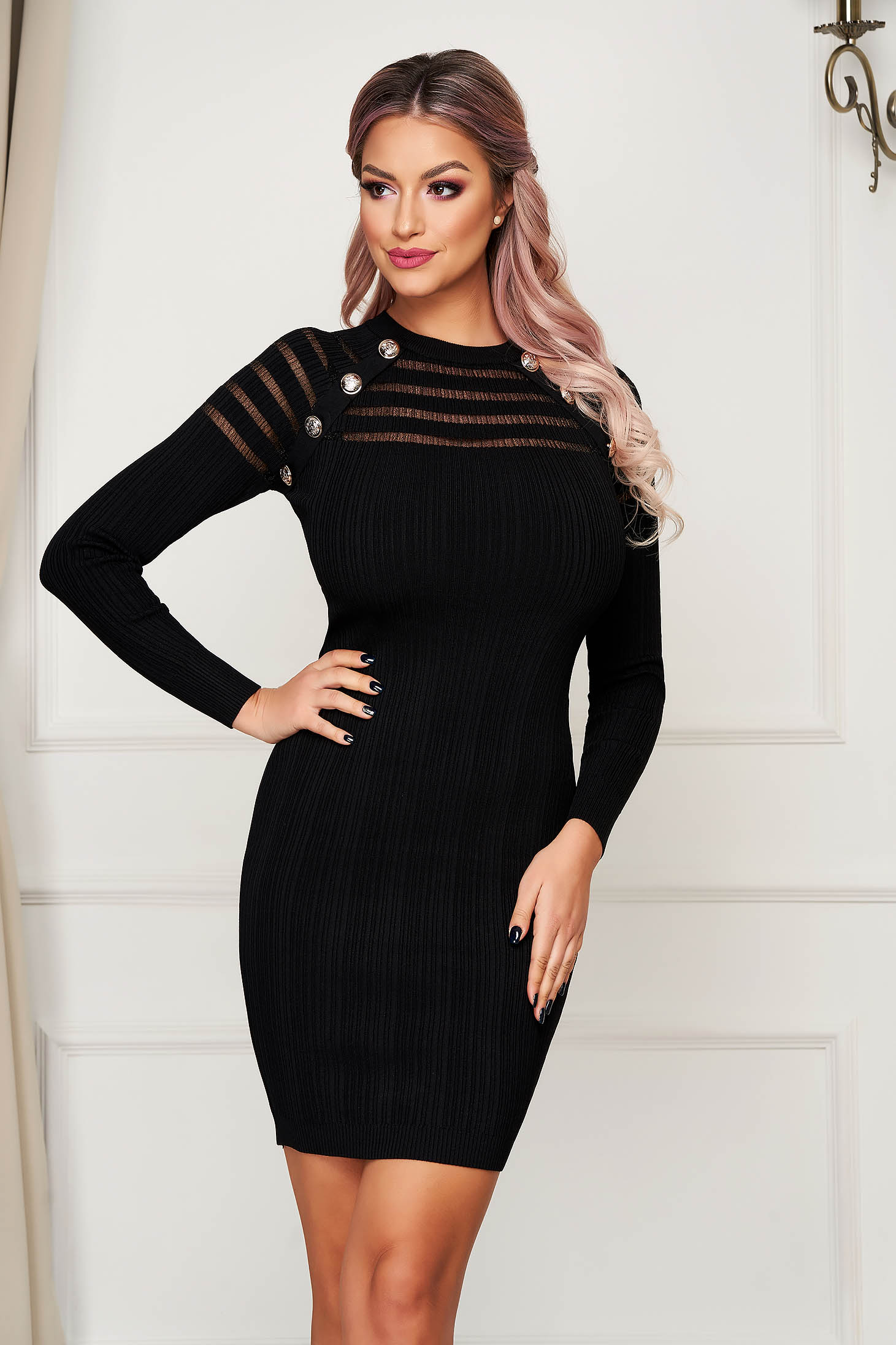 Black dress short cut daily pencil knitted long sleeved