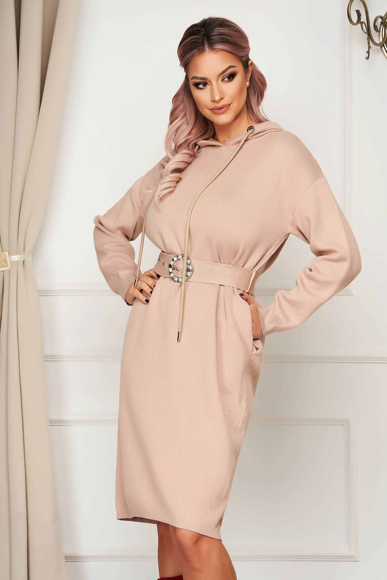 Cream dress midi daily knitted long sleeved with undetachable hood