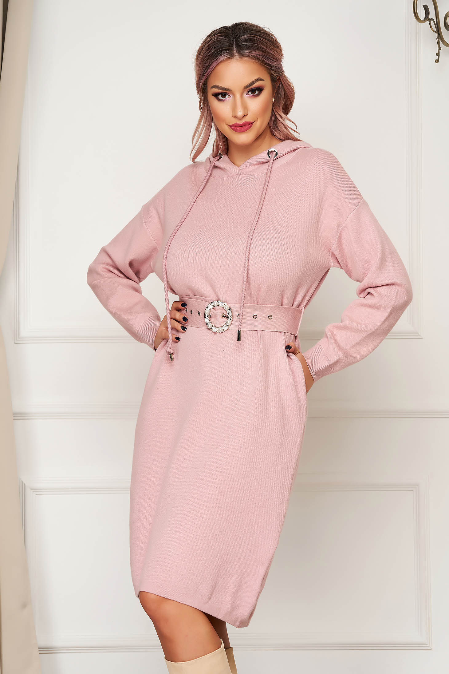 Pink dress midi daily knitted long sleeved with undetachable hood