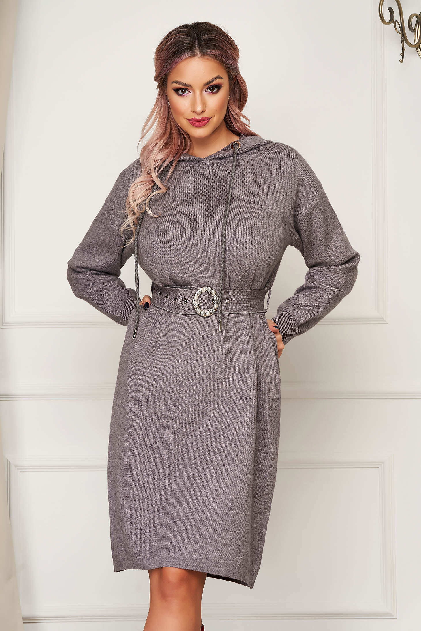 Grey dress midi daily knitted long sleeved with undetachable hood