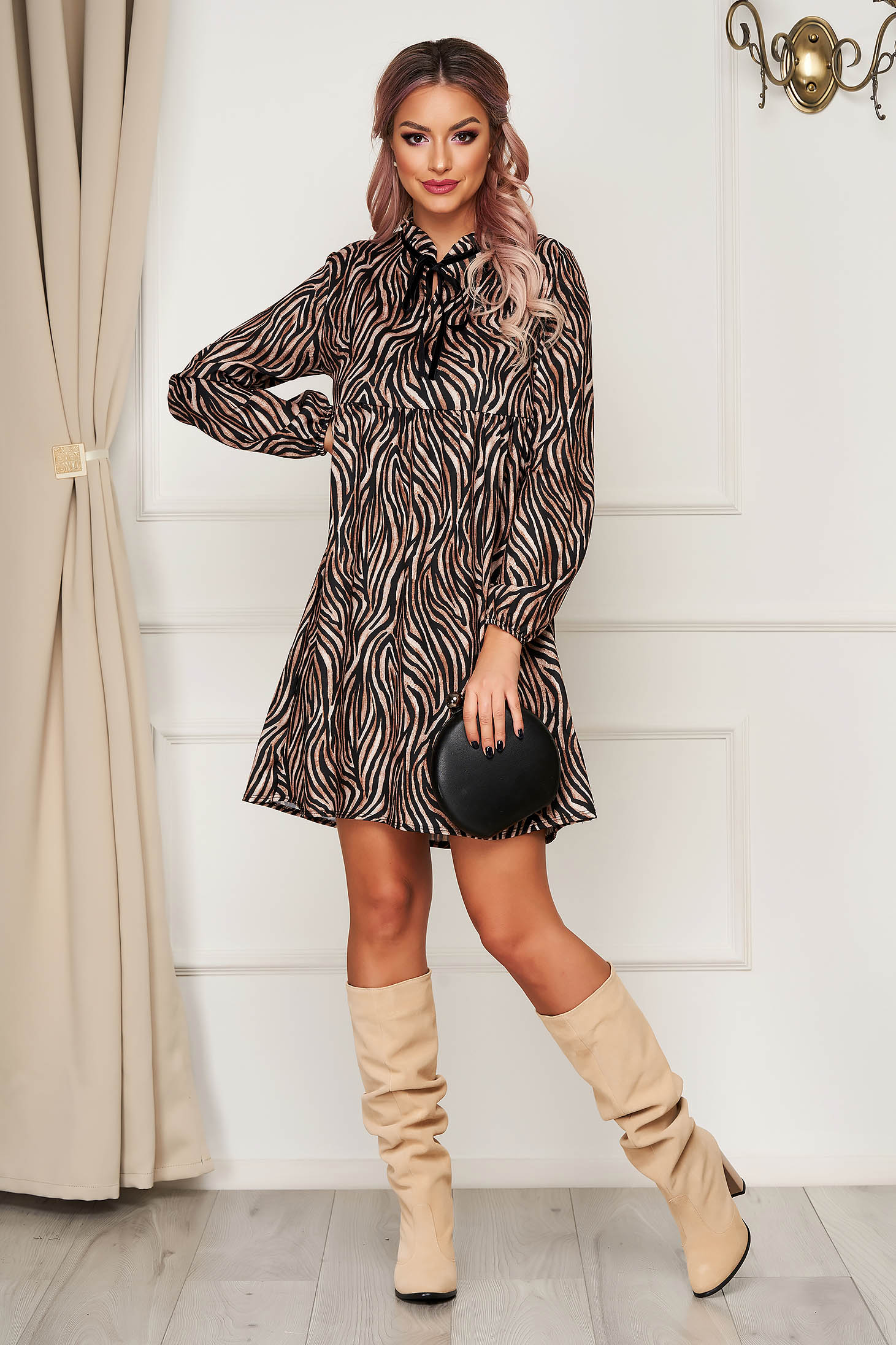 Brown dress short cut daily flared long sleeved animal print