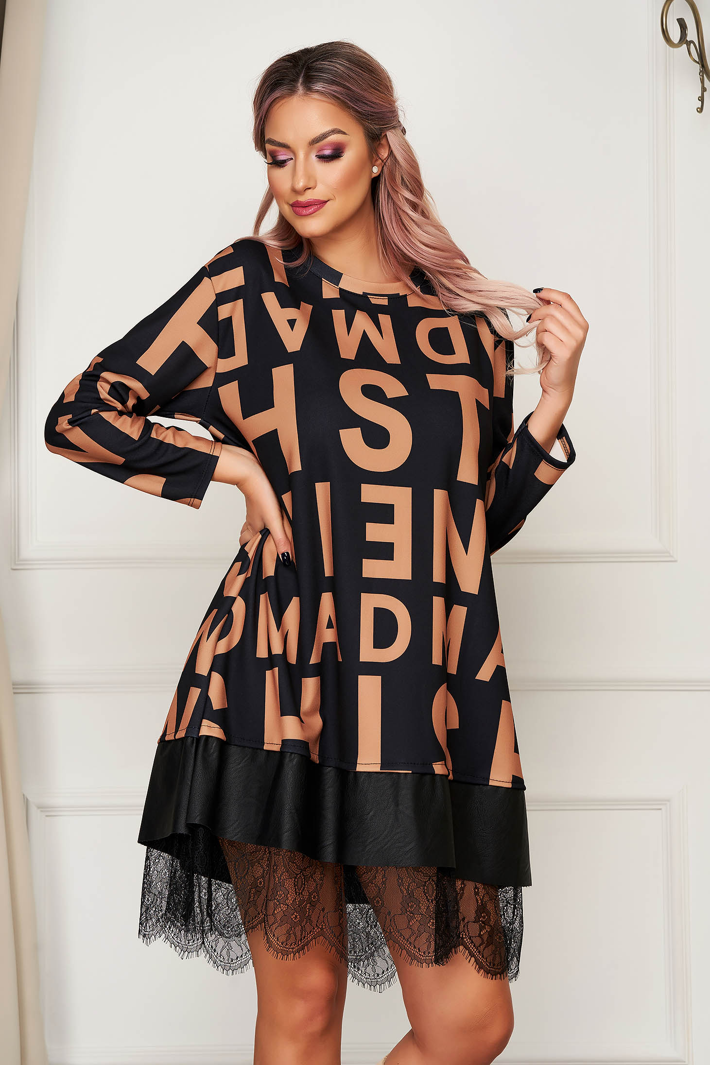 Brown dress short cut daily flared with faux leather details with lace details