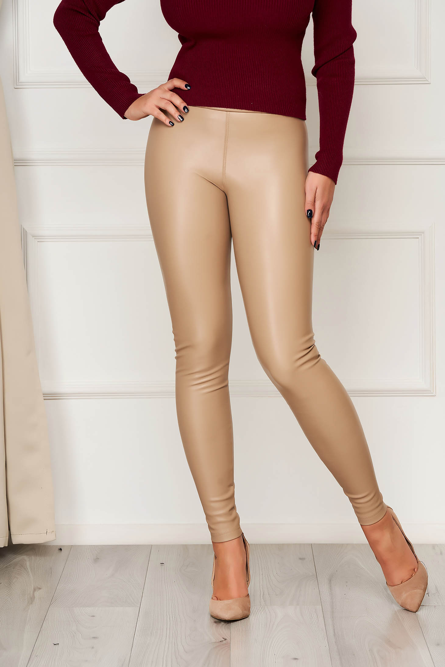 Cream tights from ecological leather elastic waist high waisted