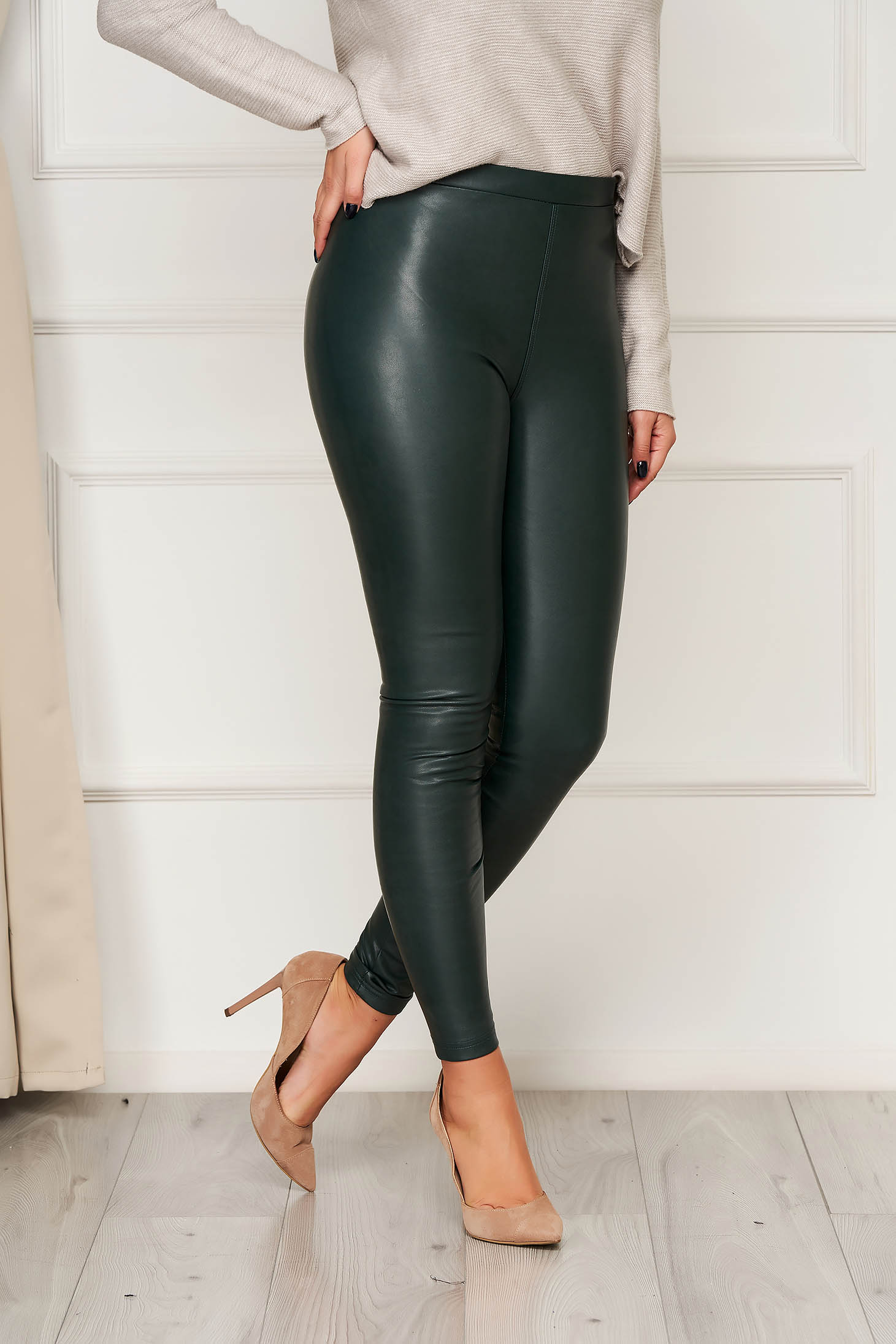 From ecological leather high waisted elastic waist darkgreen tights