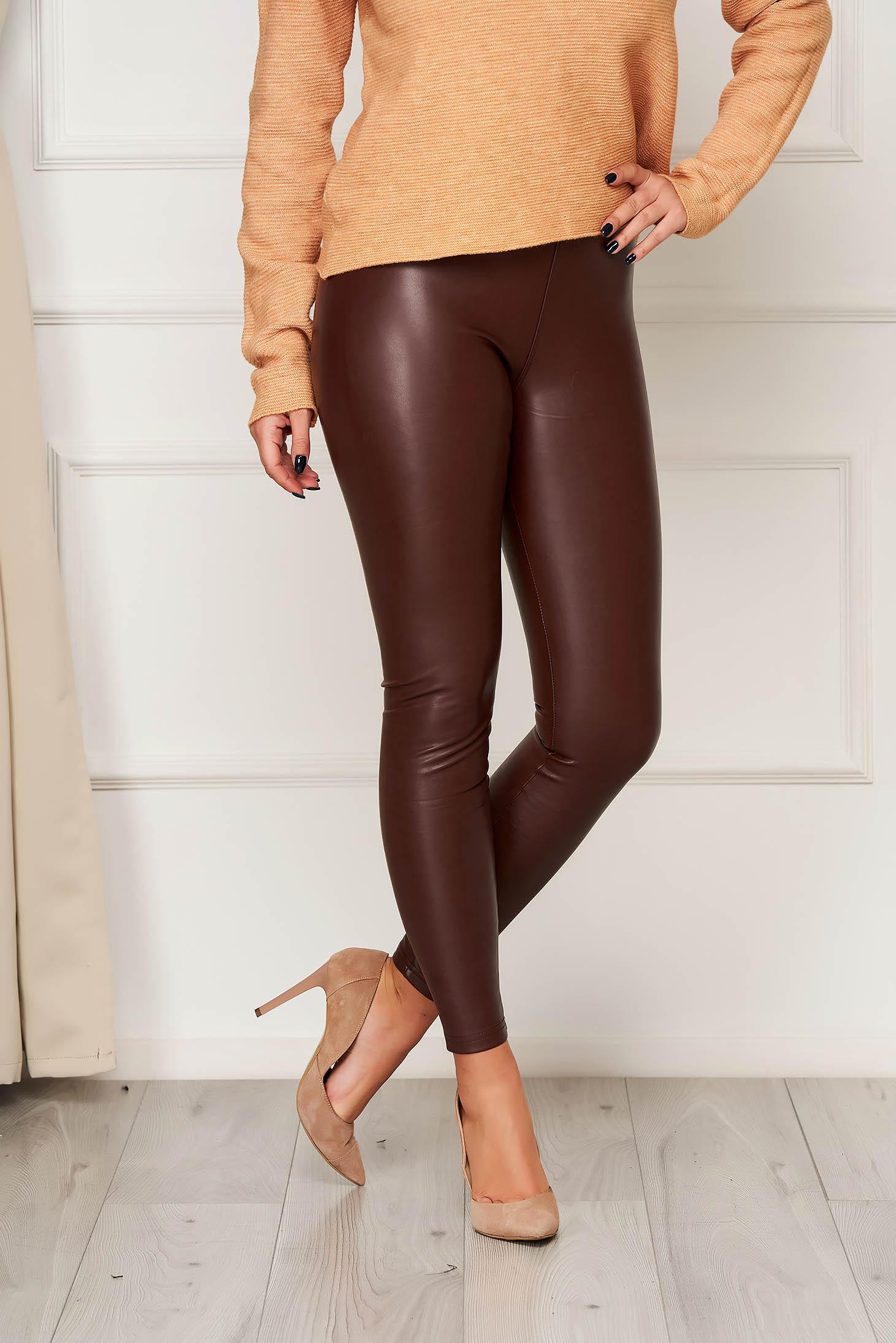 Burgundy műbőr party leggings rugalmas anyagból és elasztikus magas derékkal