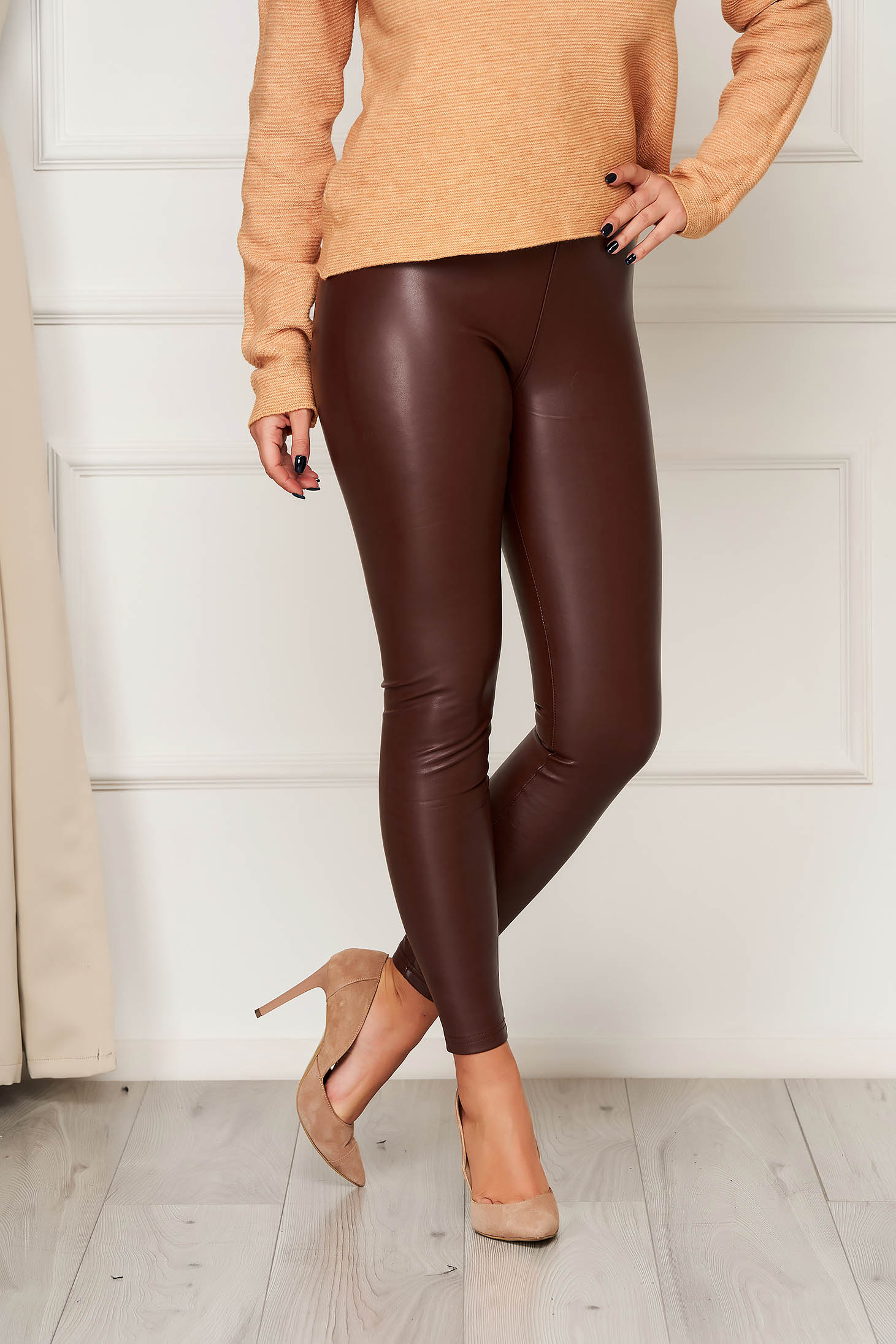 From ecological leather high waisted elastic waist burgundy tights long