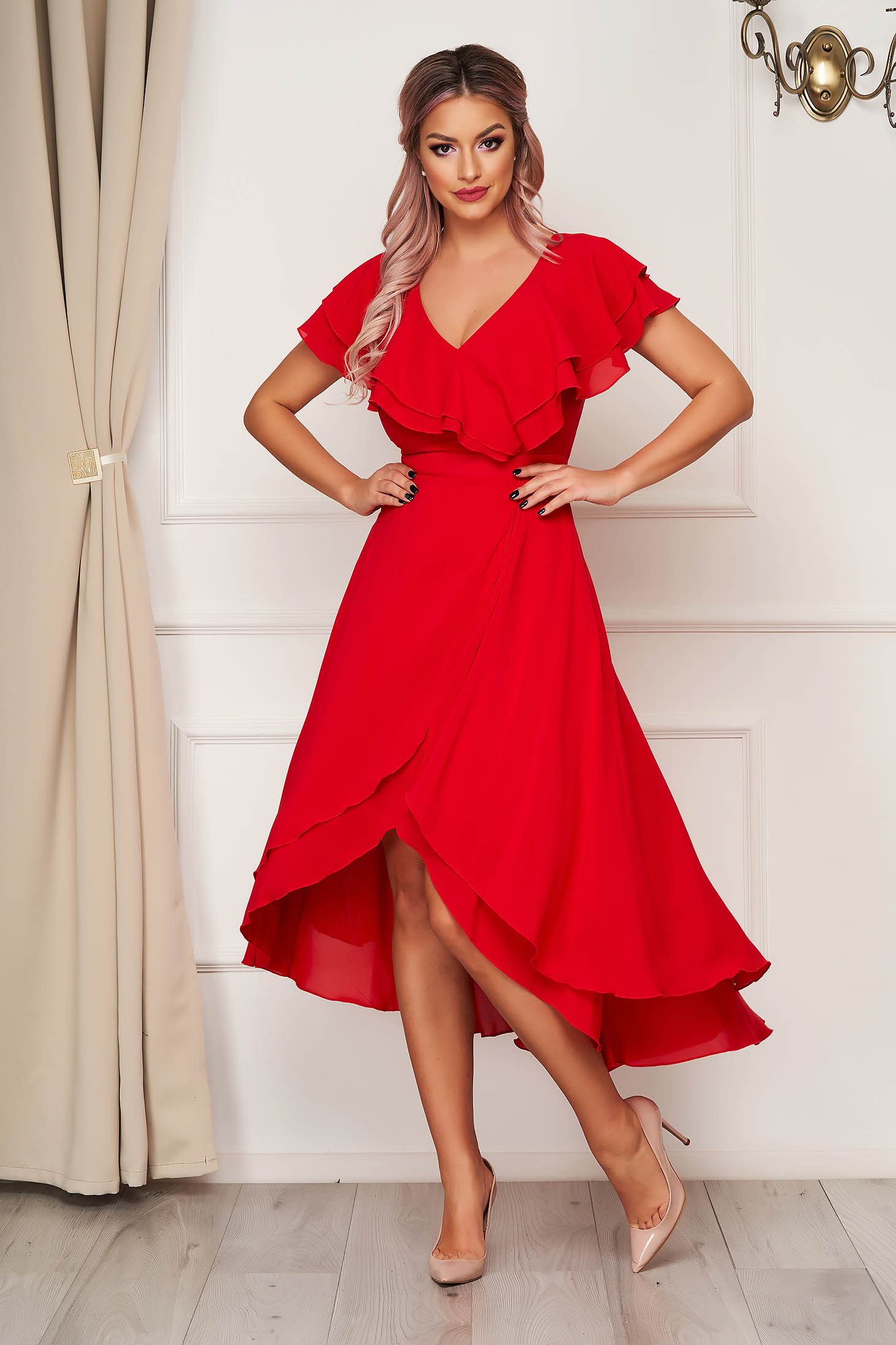 Dress StarShinerS red occasional from veil fabric with ruffle details asymmetrical cloche
