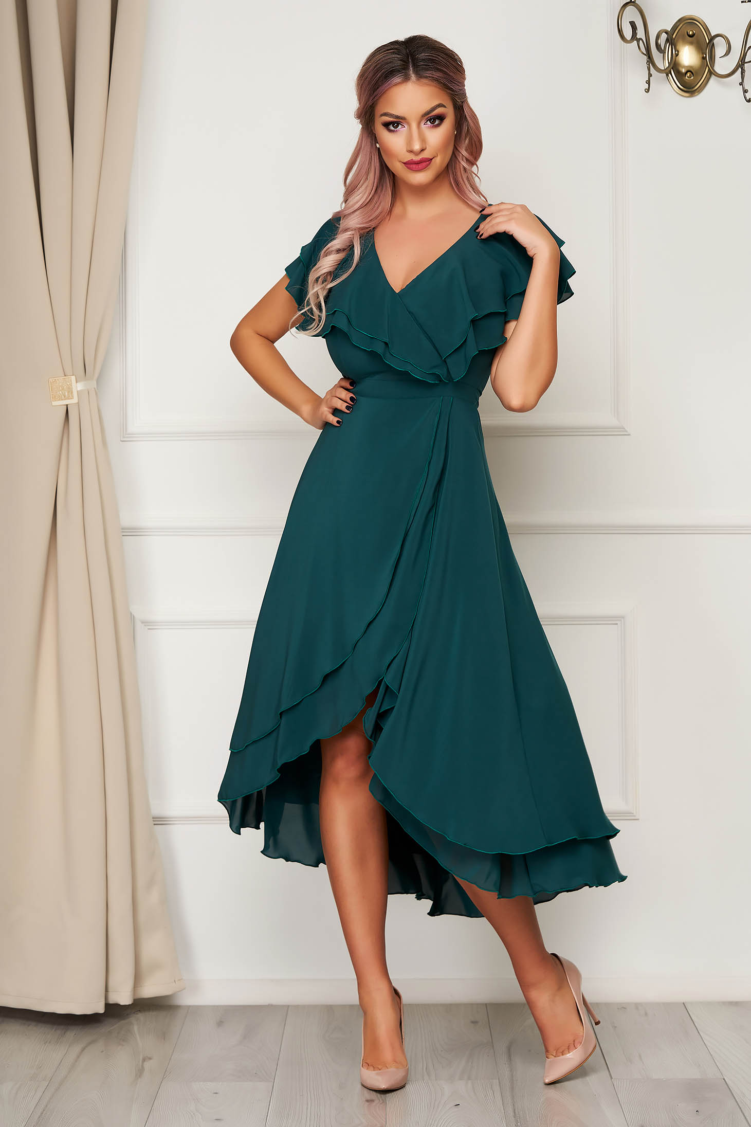Dress StarShinerS green long occasional from veil fabric with ruffle details