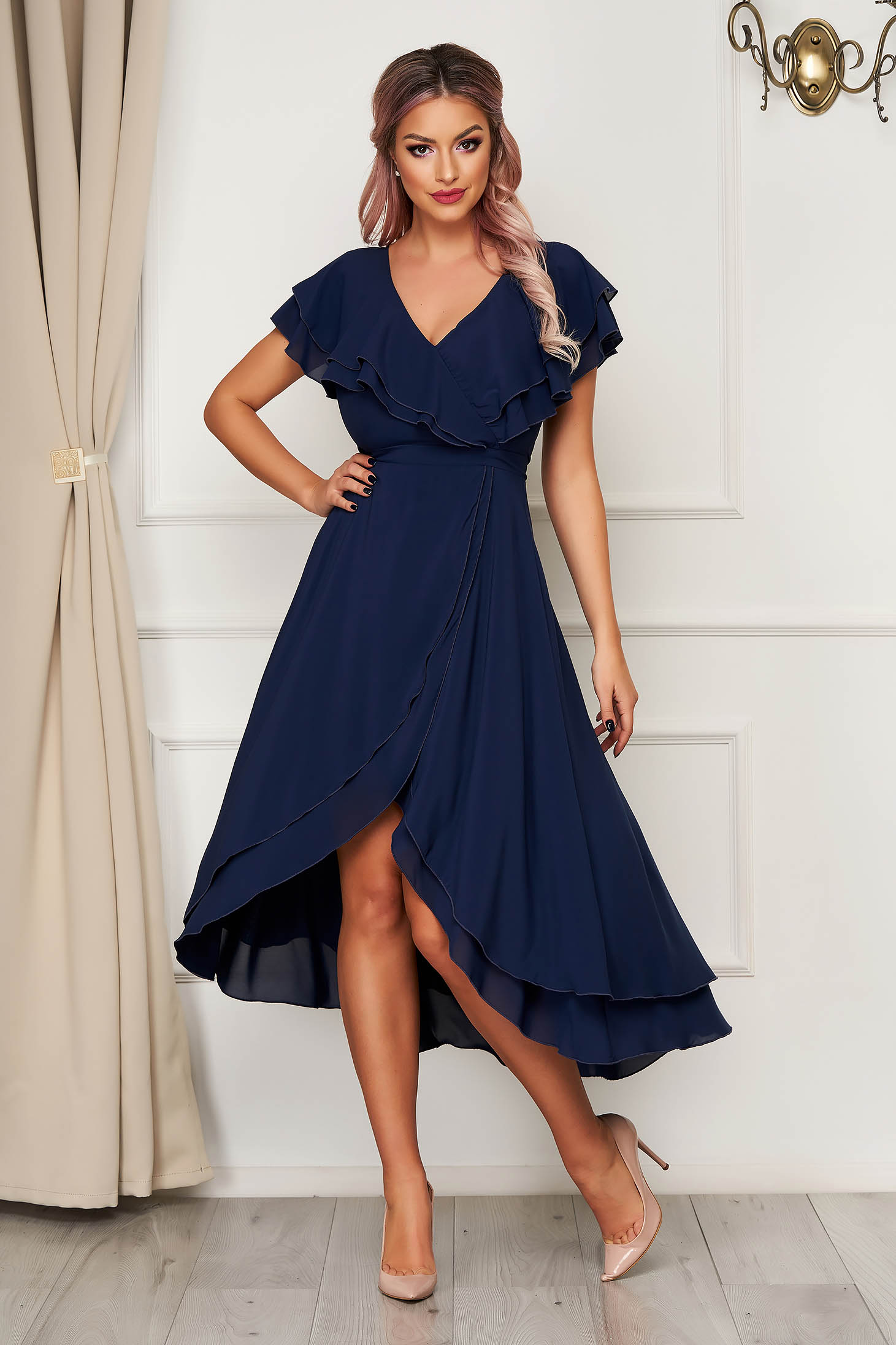 Dress StarShinerS darkblue occasional from veil fabric with ruffle details asymmetrical cloche