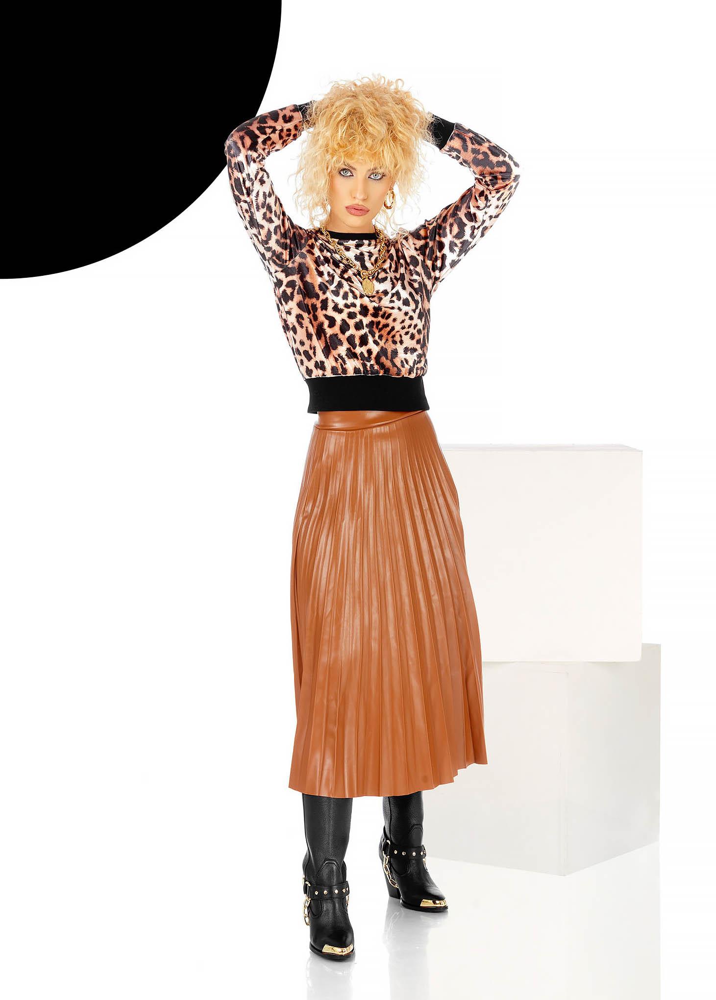 Barna midi harang szoknya elasztikus derékrész, rakott, pliszírozott műbőrből