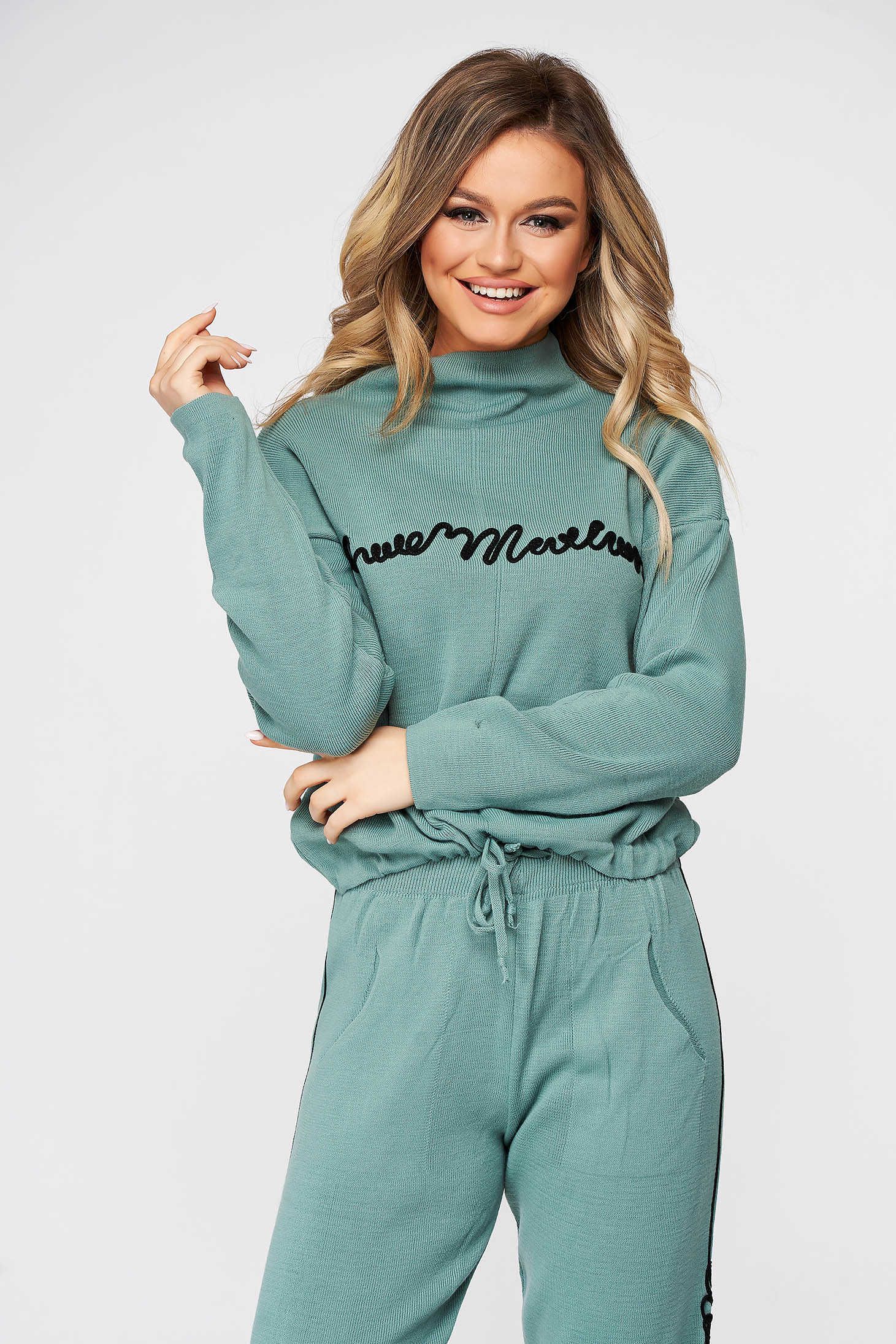 Mint sport 2 pieces casual from two pieces with trousers knitted fabric