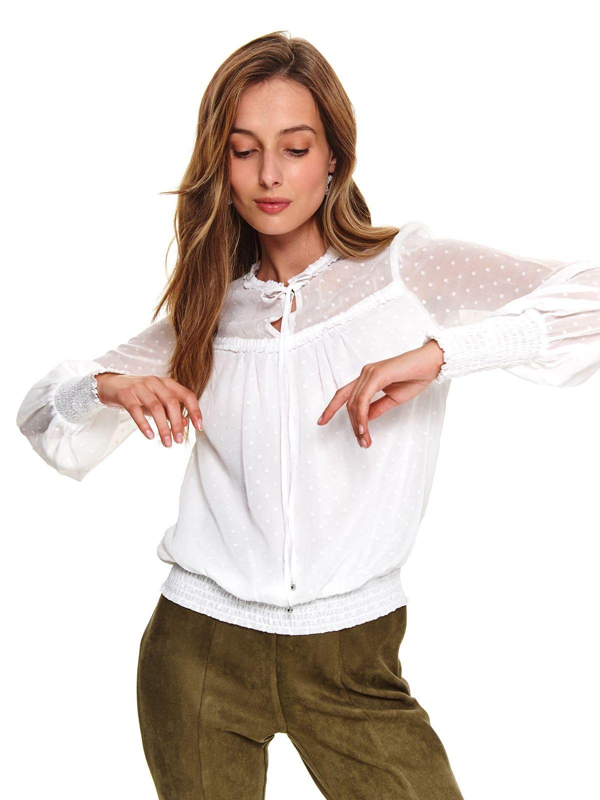 Bluza dama Top Secret alba casual din material subtire cu croi larg si aplicatii din plumeti