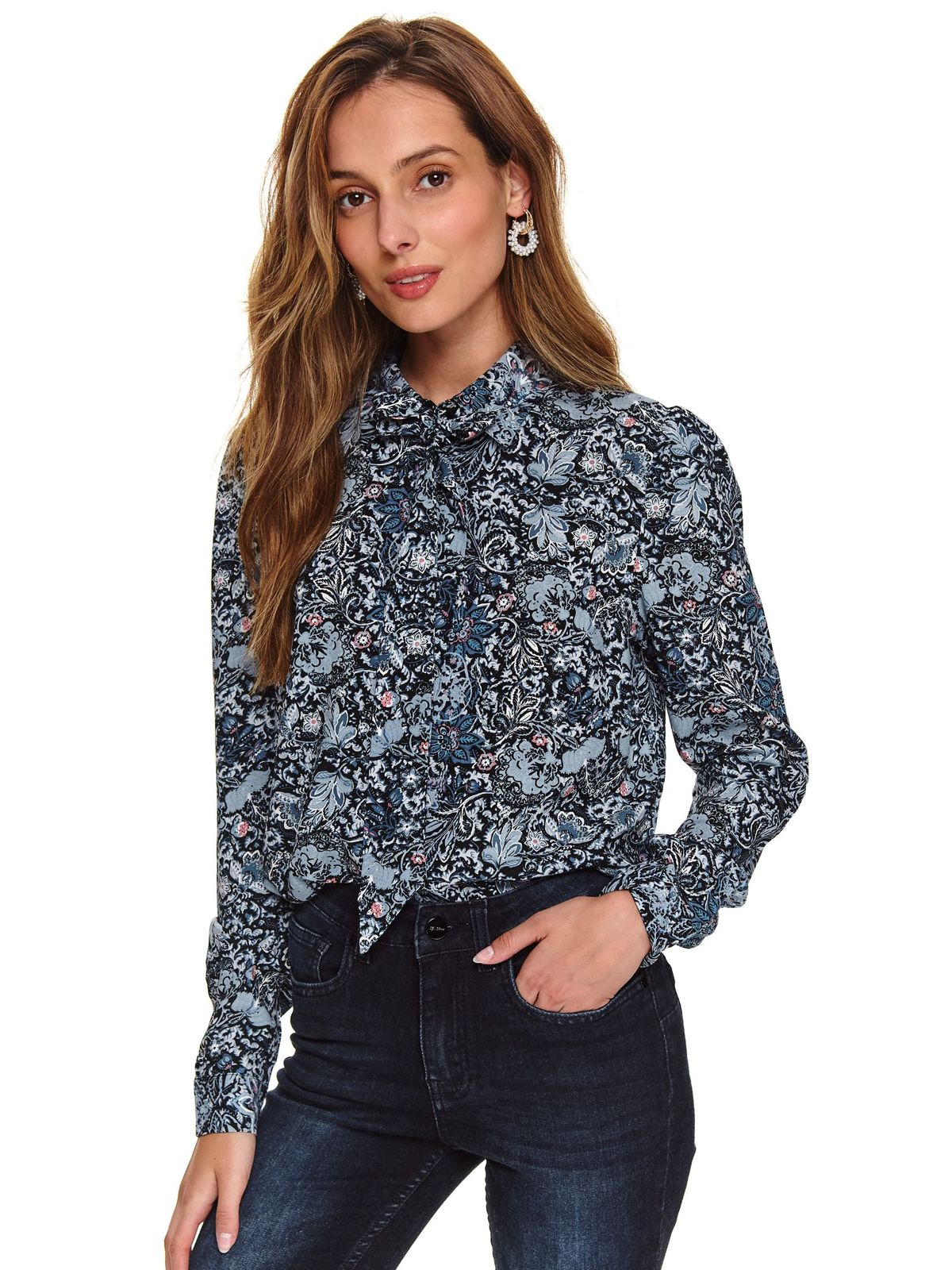 Blue women`s shirt casual from veil fabric flared
