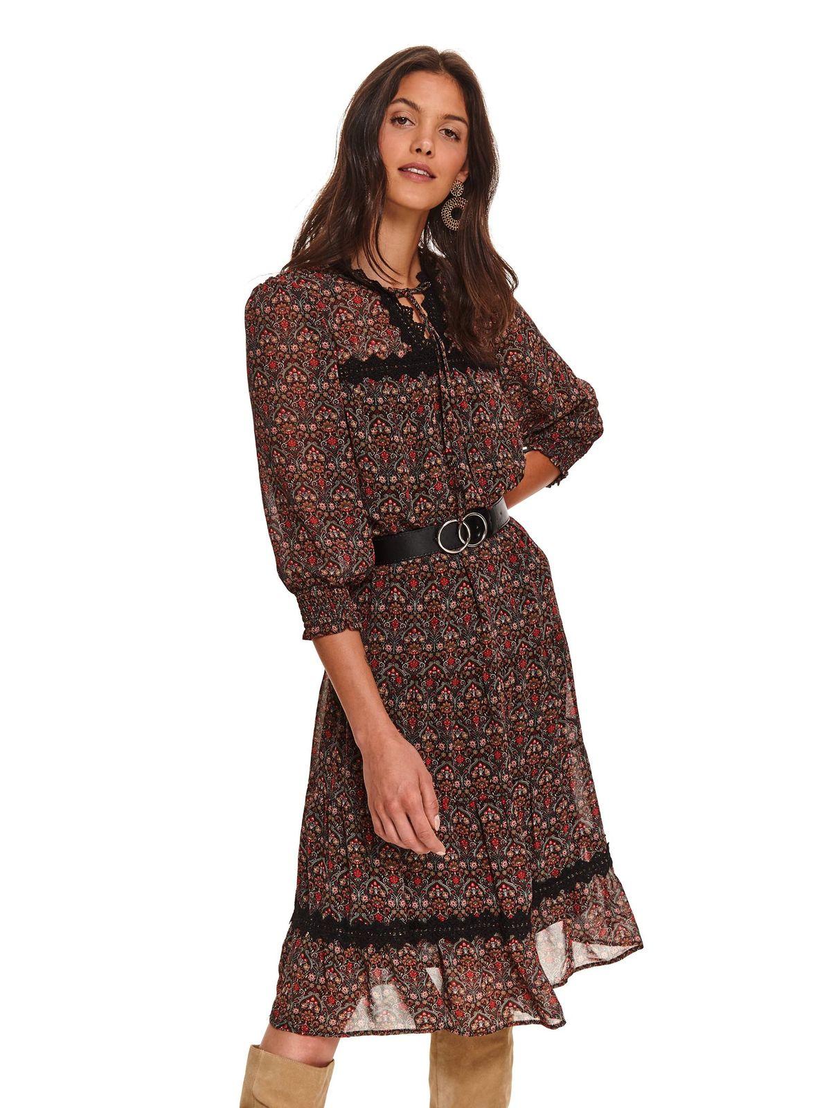 Fekete casual midi harang ruha öv típusú kiegészítővel