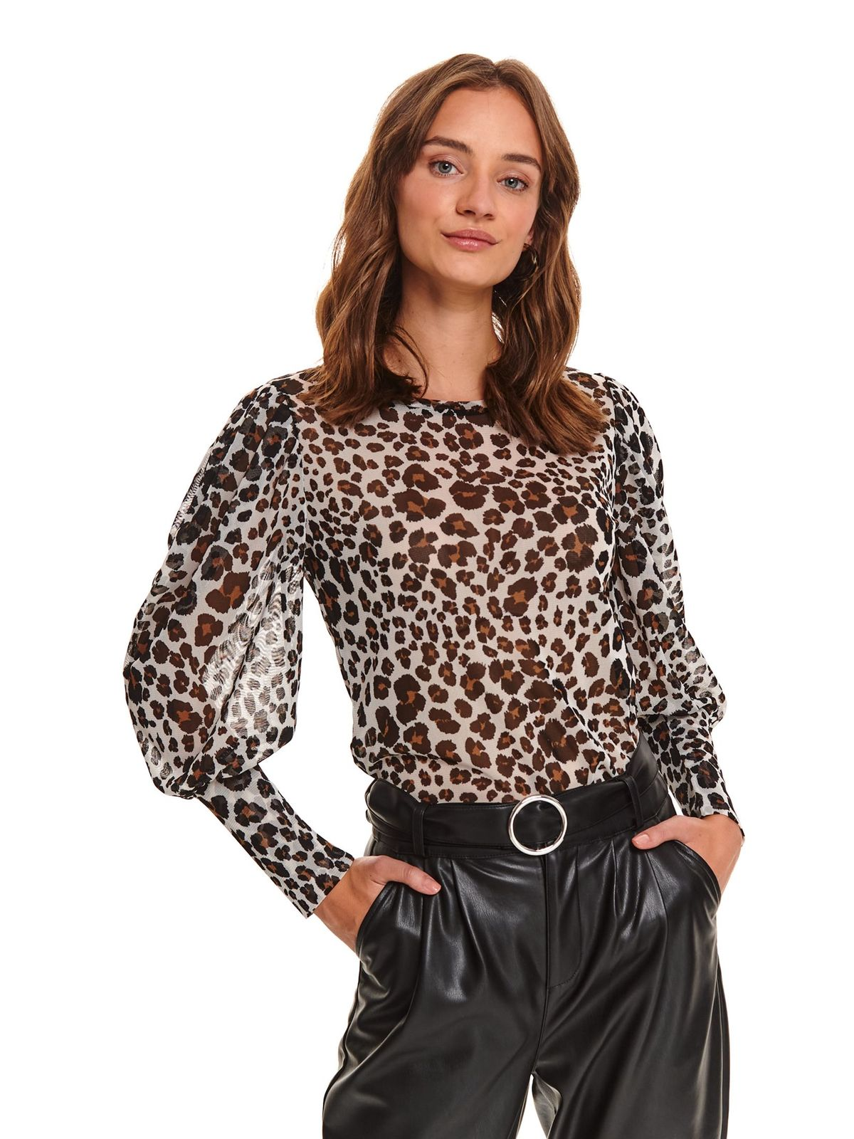 Bluza dama Top Secret animal print casual mulata din material vaporos cu maneci bufante