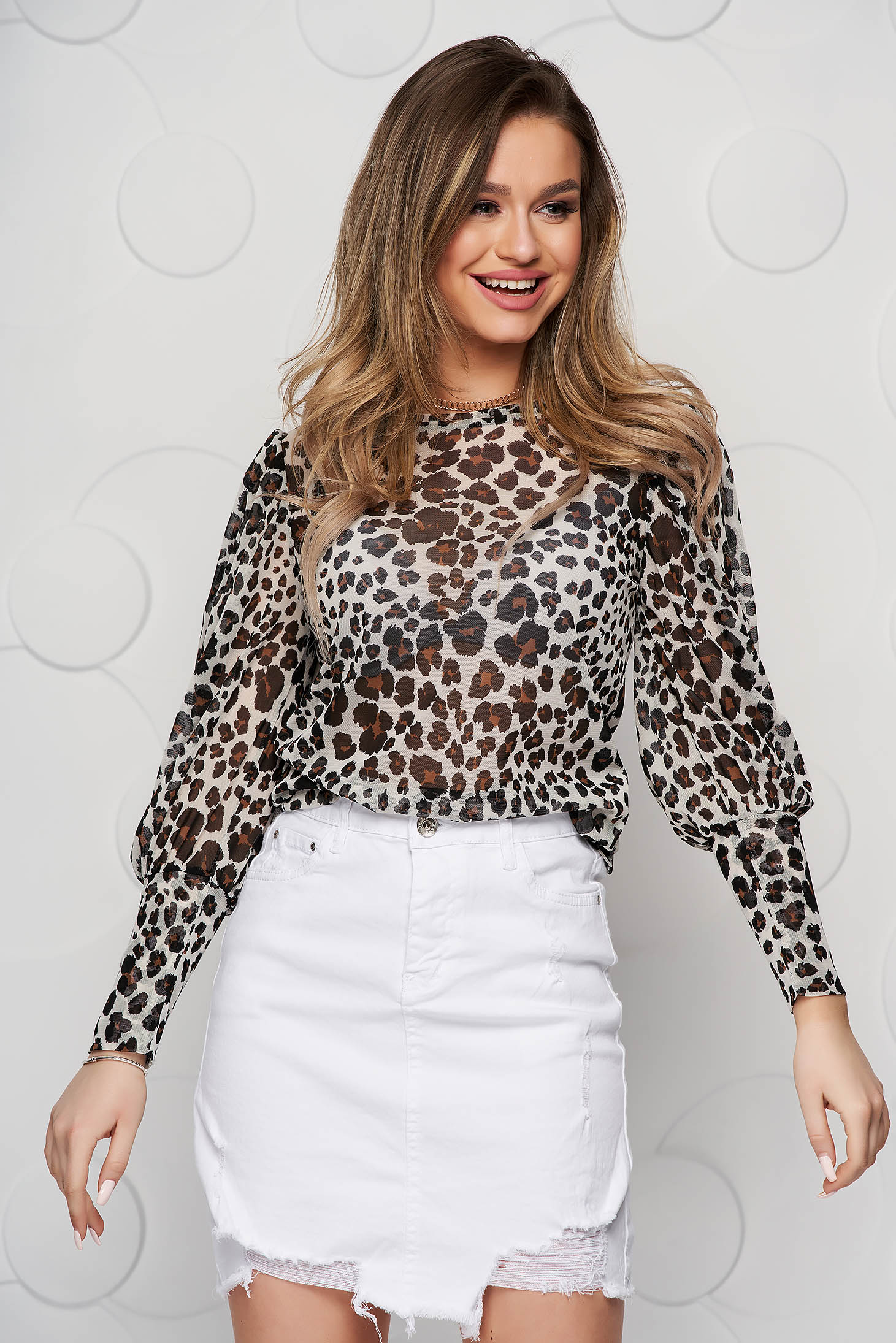 Peach women`s blouse casual tented with puffed sleeves airy fabric animal print