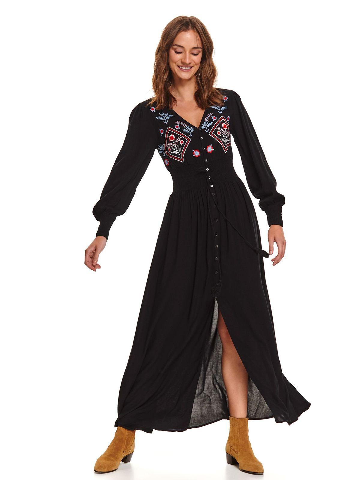 Fekete maxi ruhák hétköznapi harang ruha szellős anyagból elől hímzett