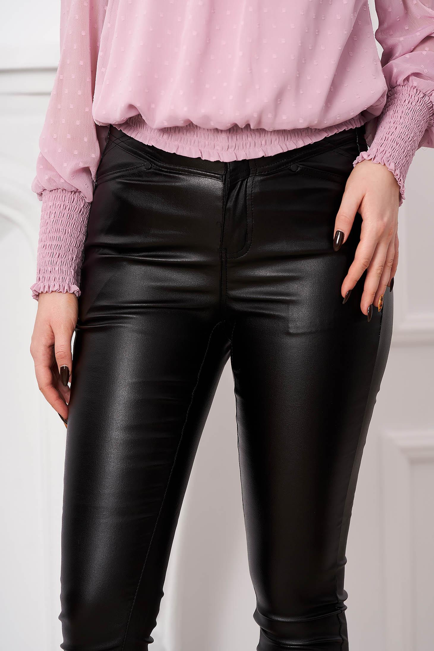 Pantaloni Top Secret negri casual ceruiti din material usor elastic cu croi mulat