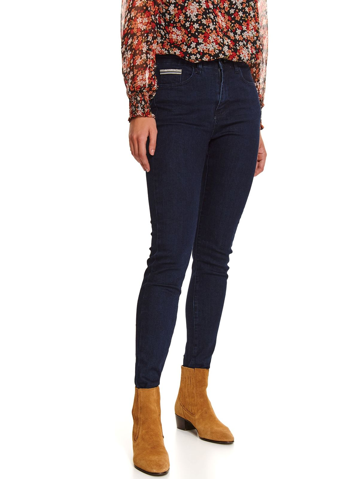 Blue trousers casual skinny jeans denim with medium waist