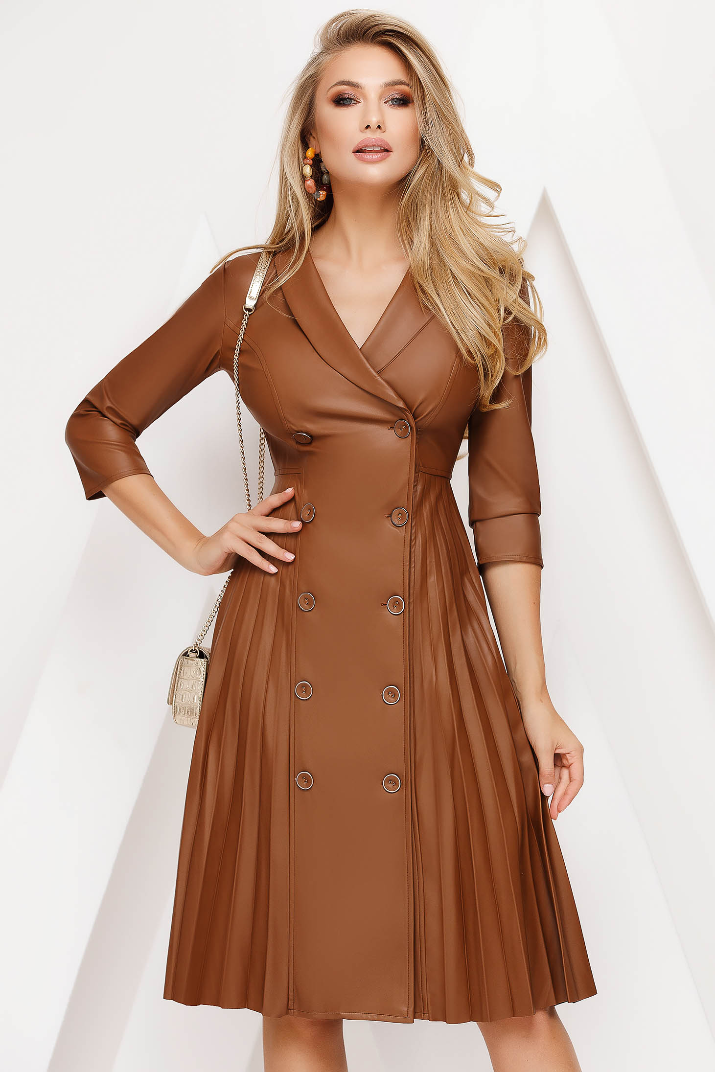 Dress brown midi folded up daily from ecological leather cloche
