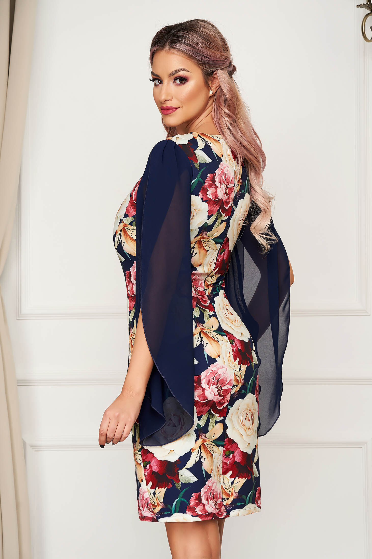 Elegant midi pencil dress StarShinerS darkblue cloth with cut-out sleeves with veil sleeves