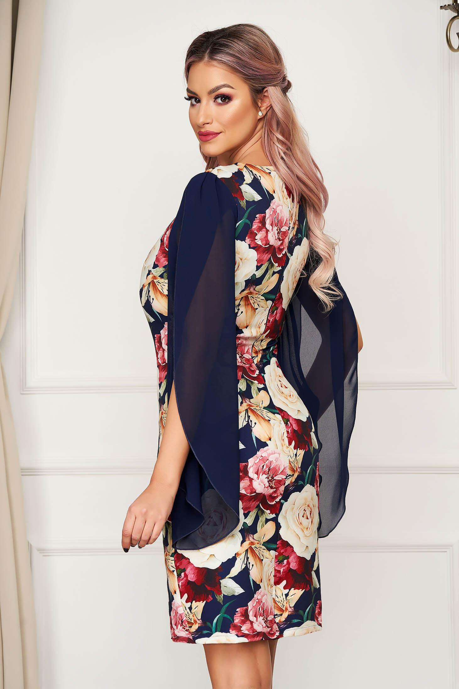 Rochie StarShinerS cu imprimeu floral eleganta midi din stofa cu maneci decupate cu maneci din voal