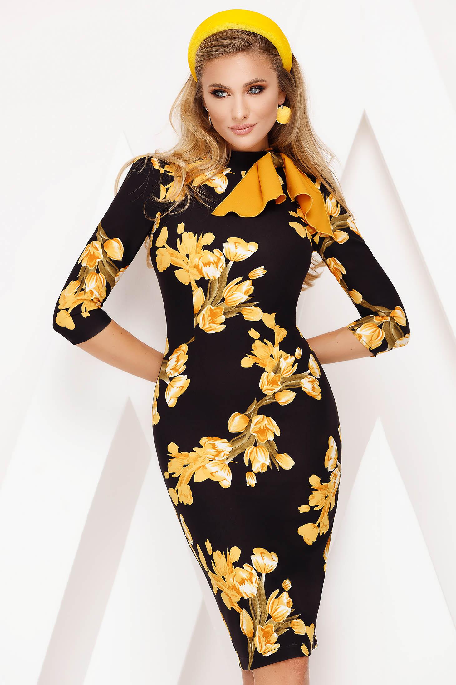 Rochie Fofy galbena eleganta tip creion din stofa usor elastica cu imprimeu floral