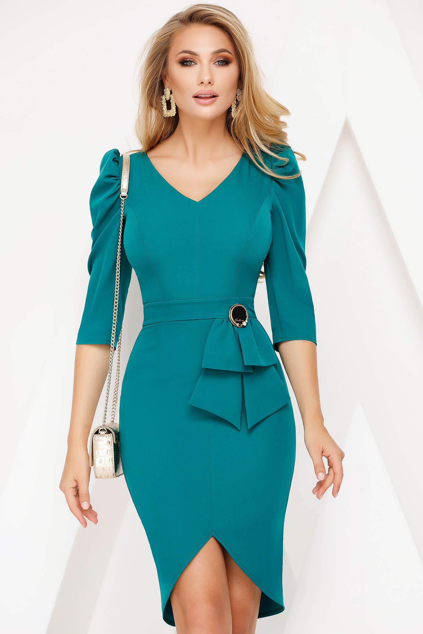 Turquoise dress elegant pencil 3/4 sleeve with v-neckline frontal slit