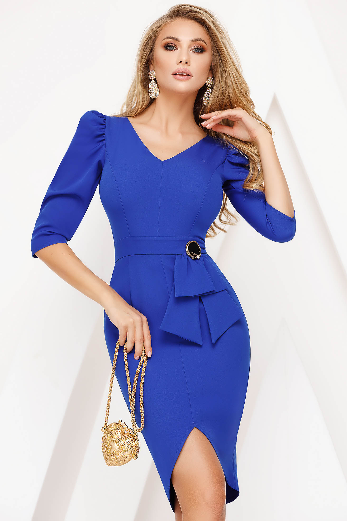 Blue dress elegant pencil 3/4 sleeve with v-neckline frontal slit