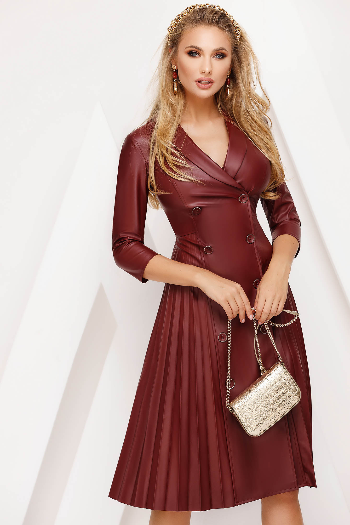 Dress burgundy midi folded up daily from ecological leather cloche