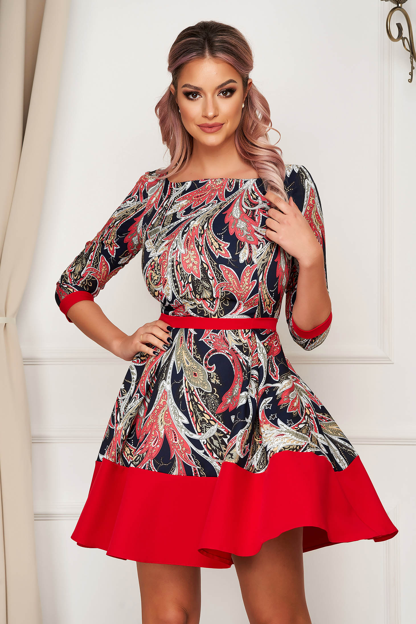 Elegant short cut cloche dress StarShinerS red slightly elastic fabric pleats of material