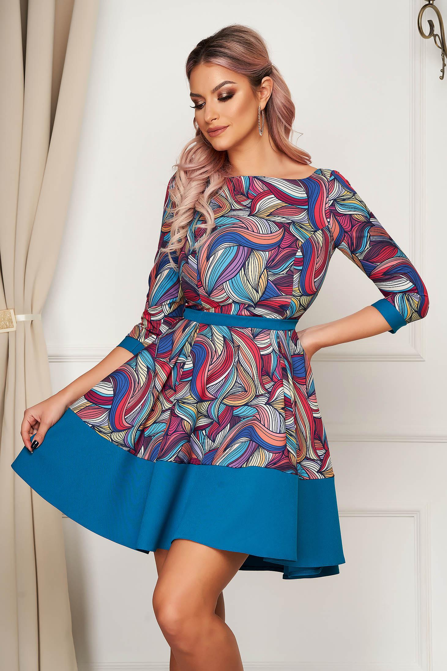 Elegant short cut cloche dress StarShinerS green slightly elastic fabric pleats of material