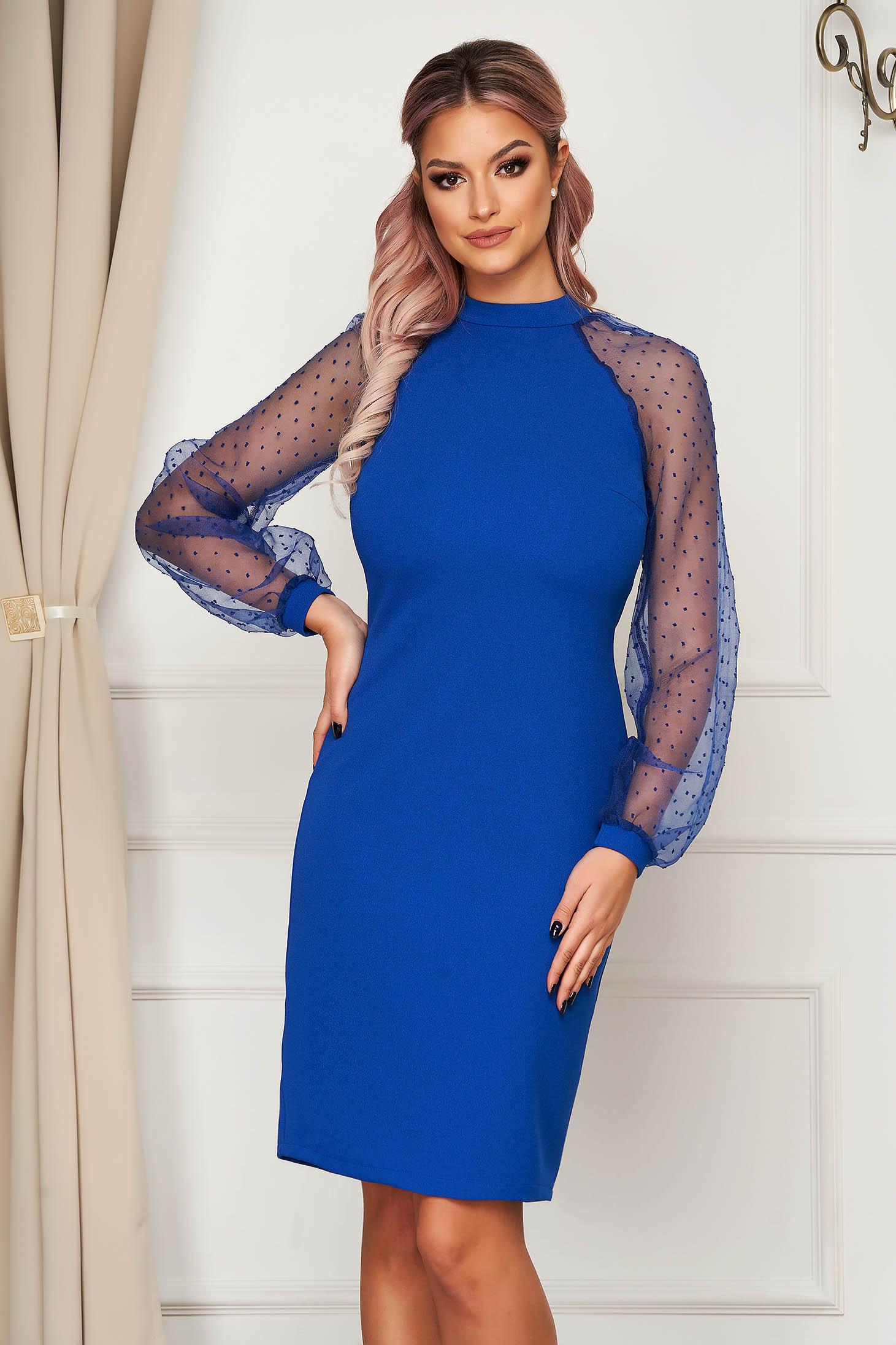 Kék StarShinerS elegáns bő szabású midi ruha enyhén rugalmas anyagból csipke ujj