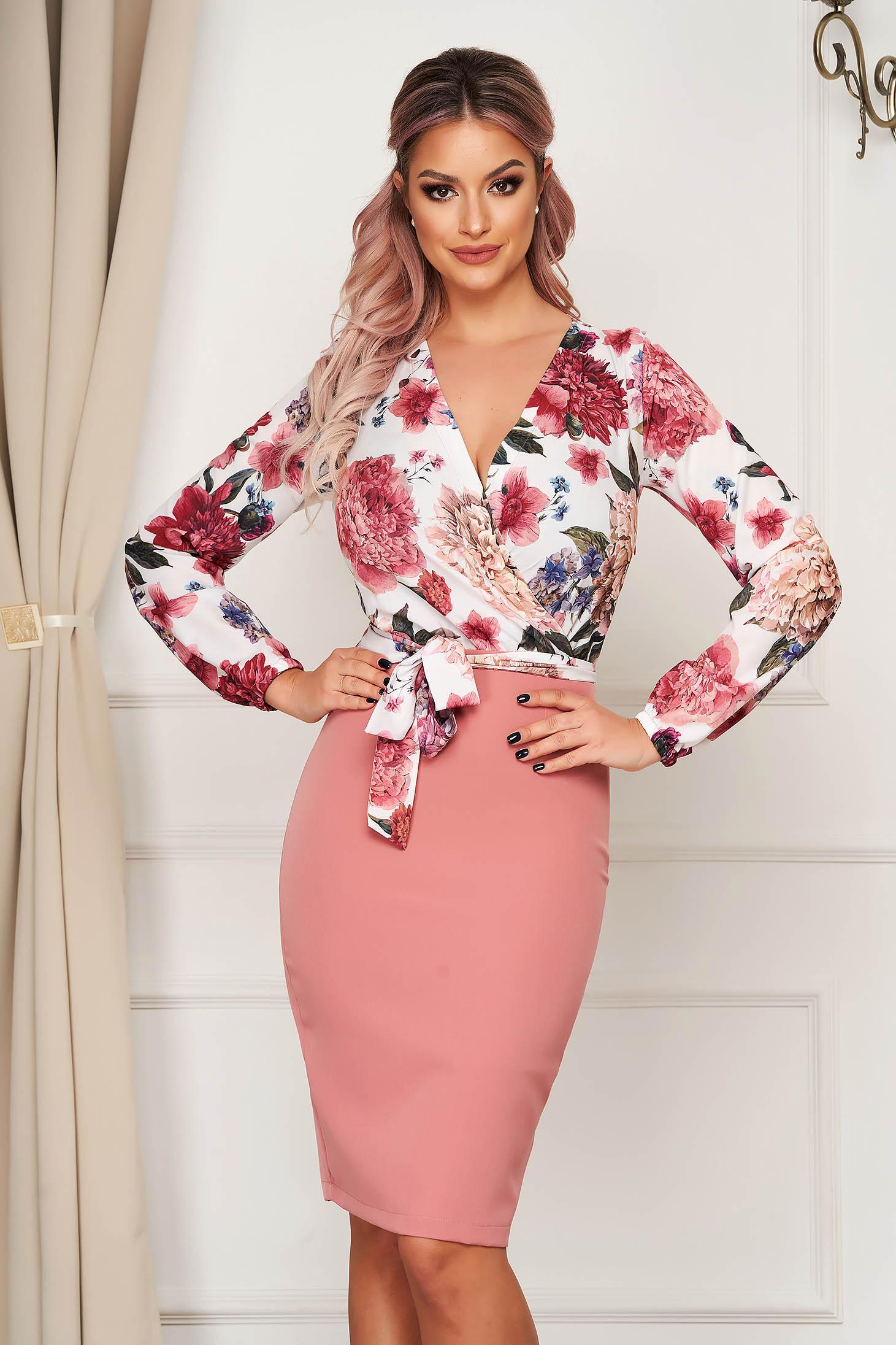 Pink StarShinerS ruha elegáns szövetből rugalmas anyagból midi ceruza virágmintás