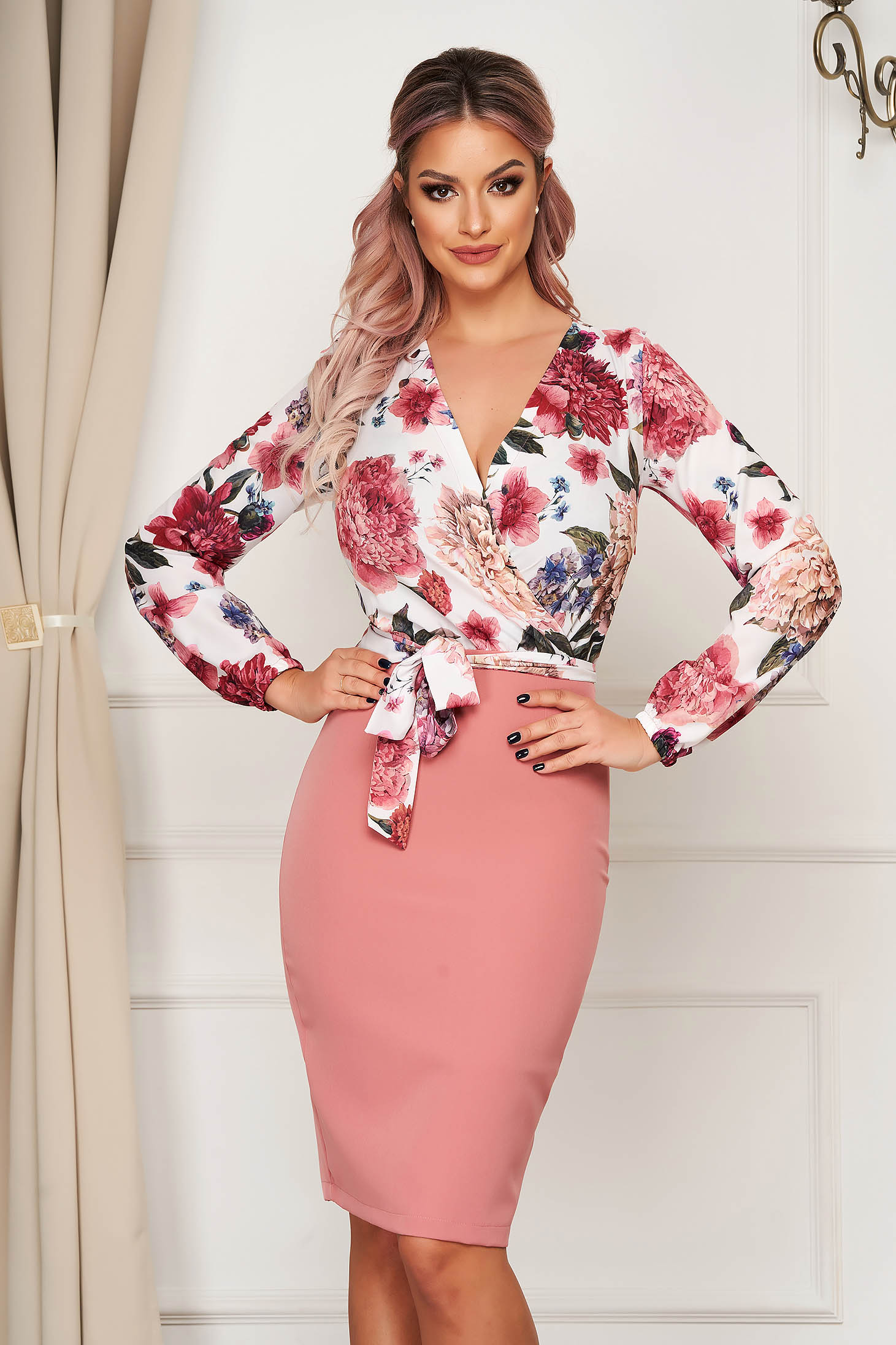 StarShinerS pink dress elegant cloth from elastic fabric midi pencil with floral print