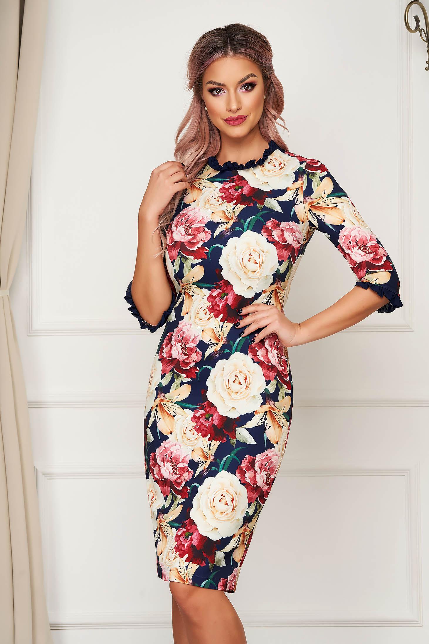 Elegant midi pencil dress StarShinerS darkblue cloth with ruffled sleeves