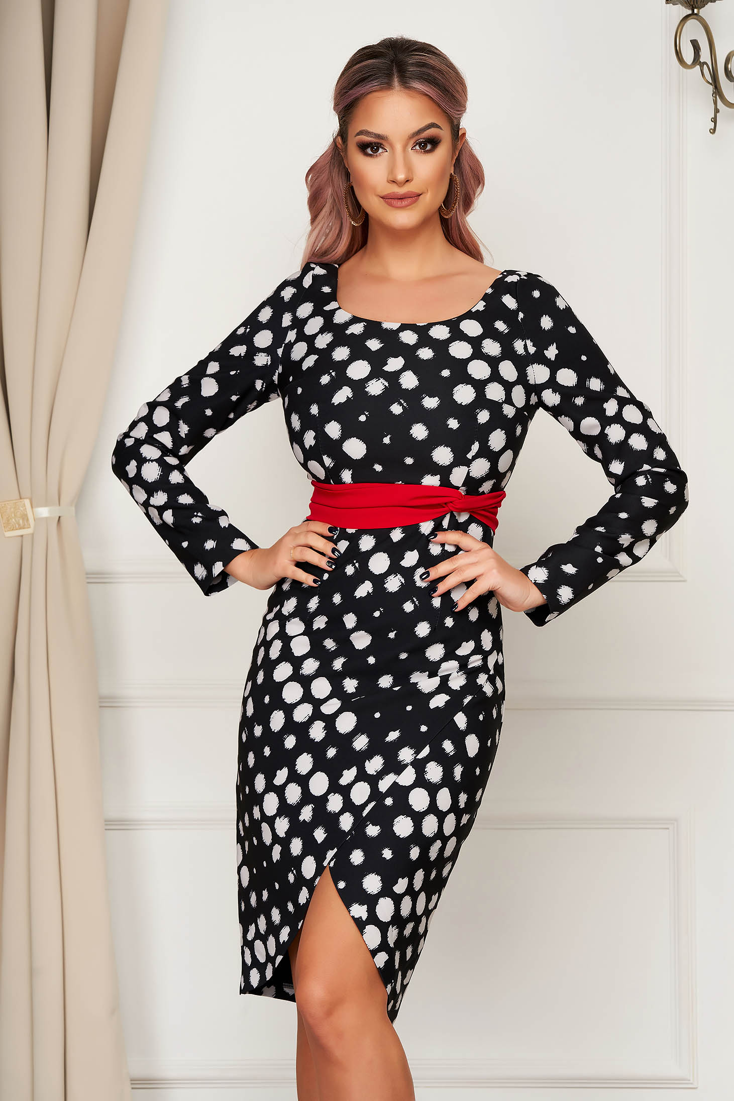 White dress elegant midi pencil cloth dots print