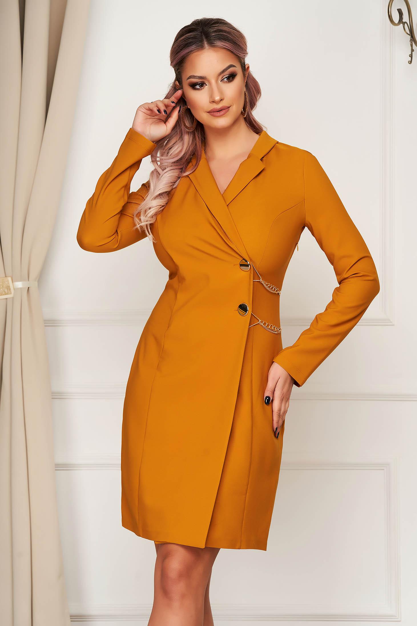 Mustard dress short cut daily blazer type a-line slightly elastic fabric