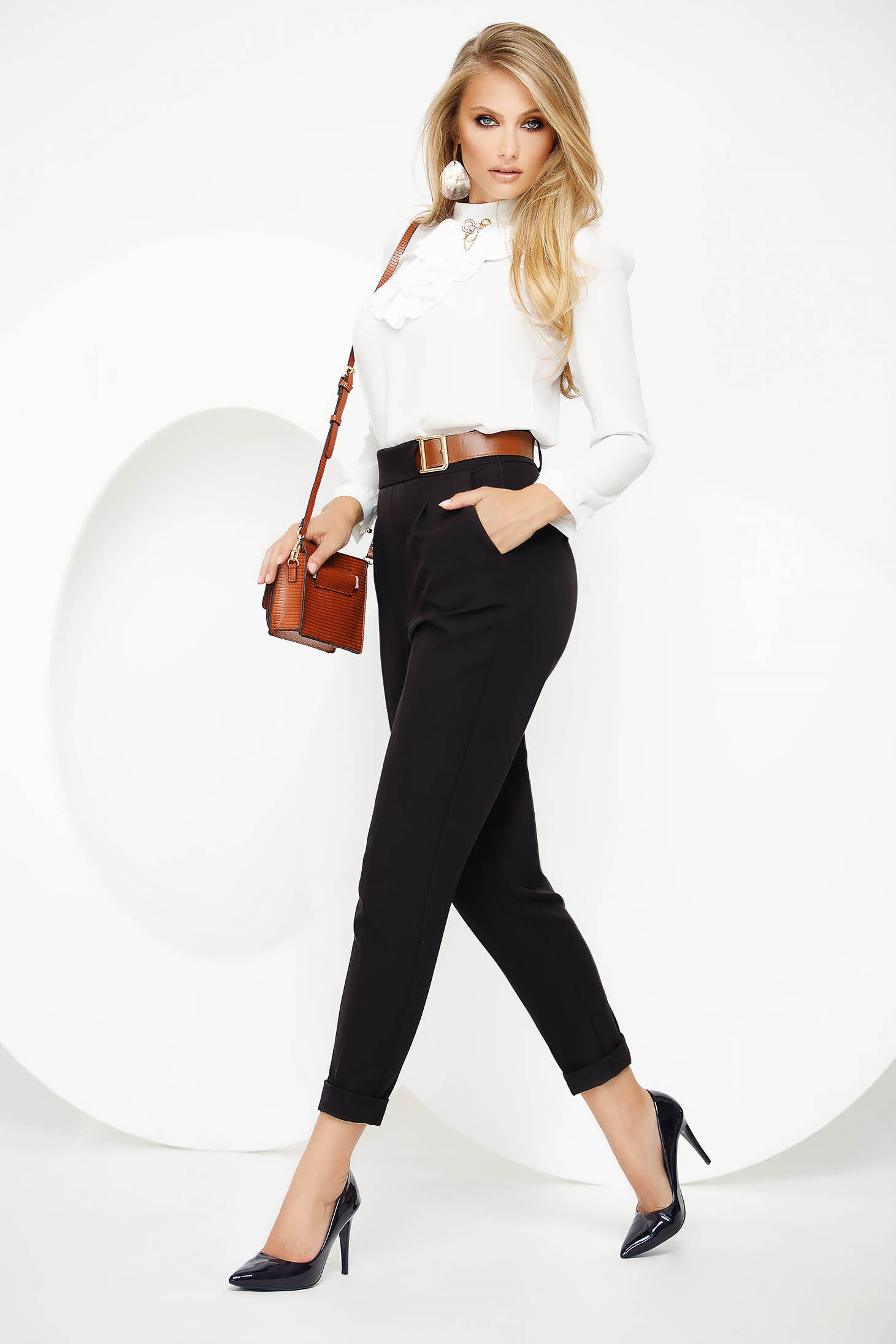 Office black conical trousers slightly elastic fabric high waisted