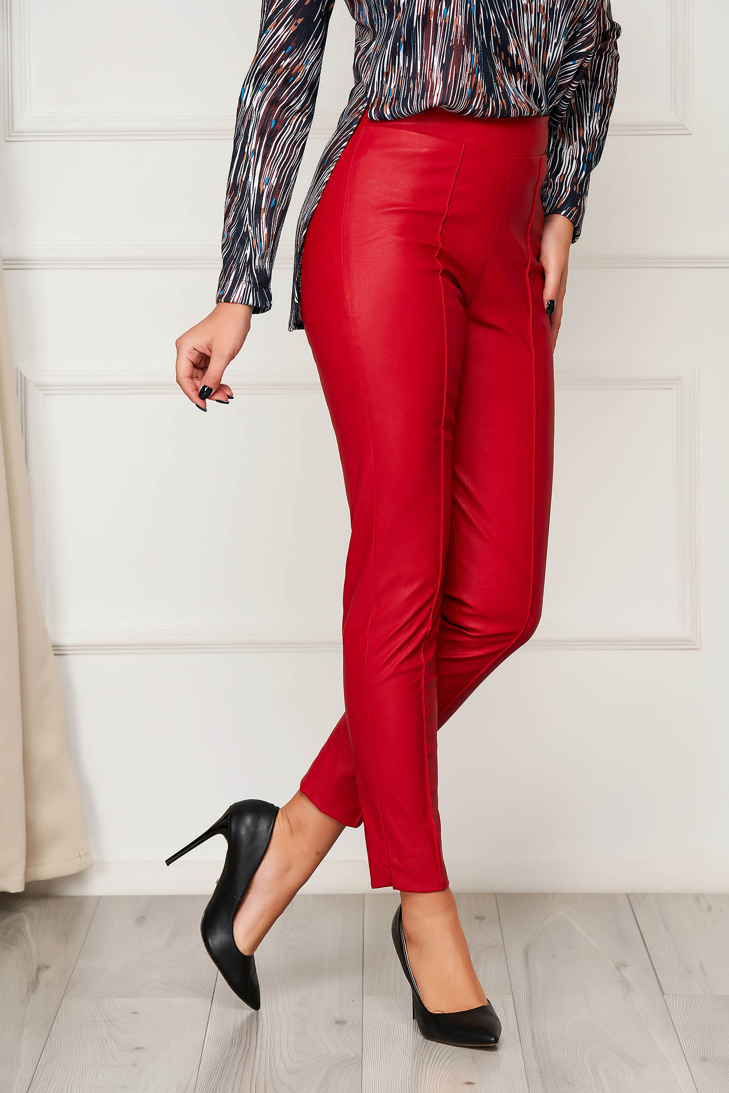 Casual red StarShinerS trousers from ecological leather with tented cut high waisted