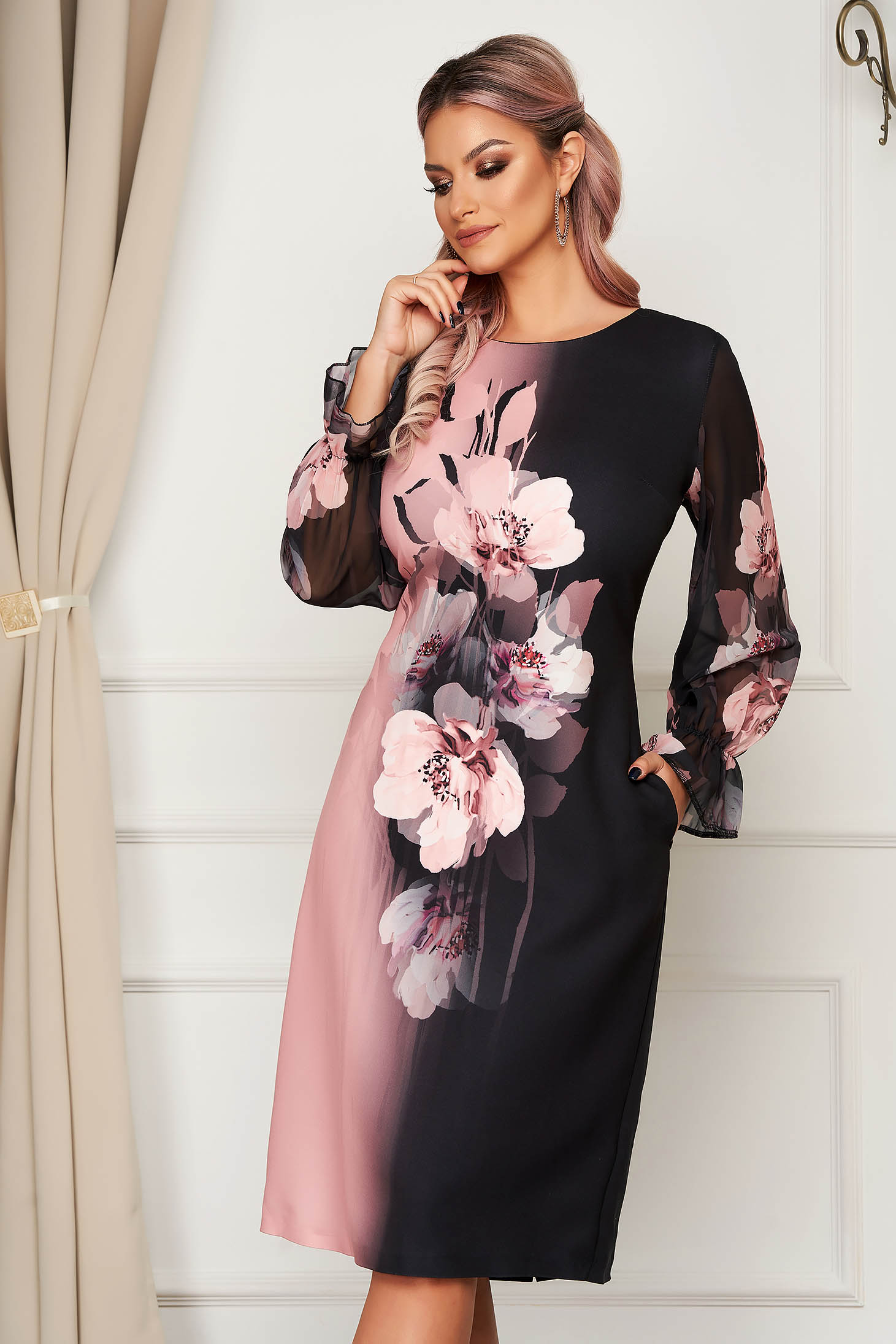 Lightpink dress elegant midi straight with veil sleeves cloth