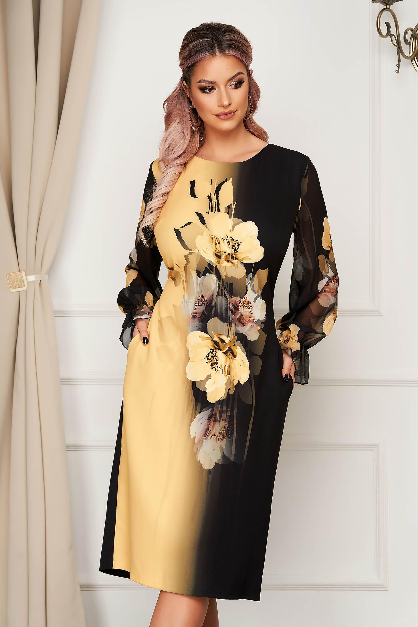 Rochie galbena eleganta midi din stofa cu un croi drept si maneci din voal