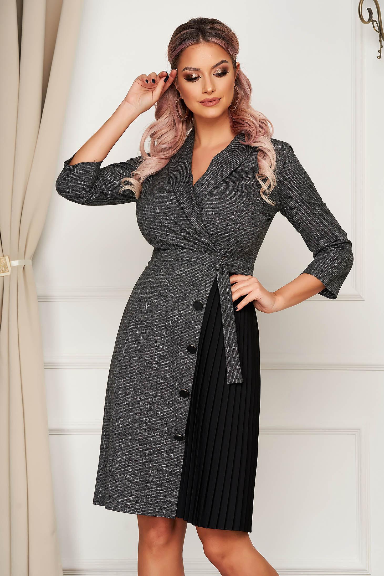Darkgrey dress midi office a-line slightly elastic fabric blazer type