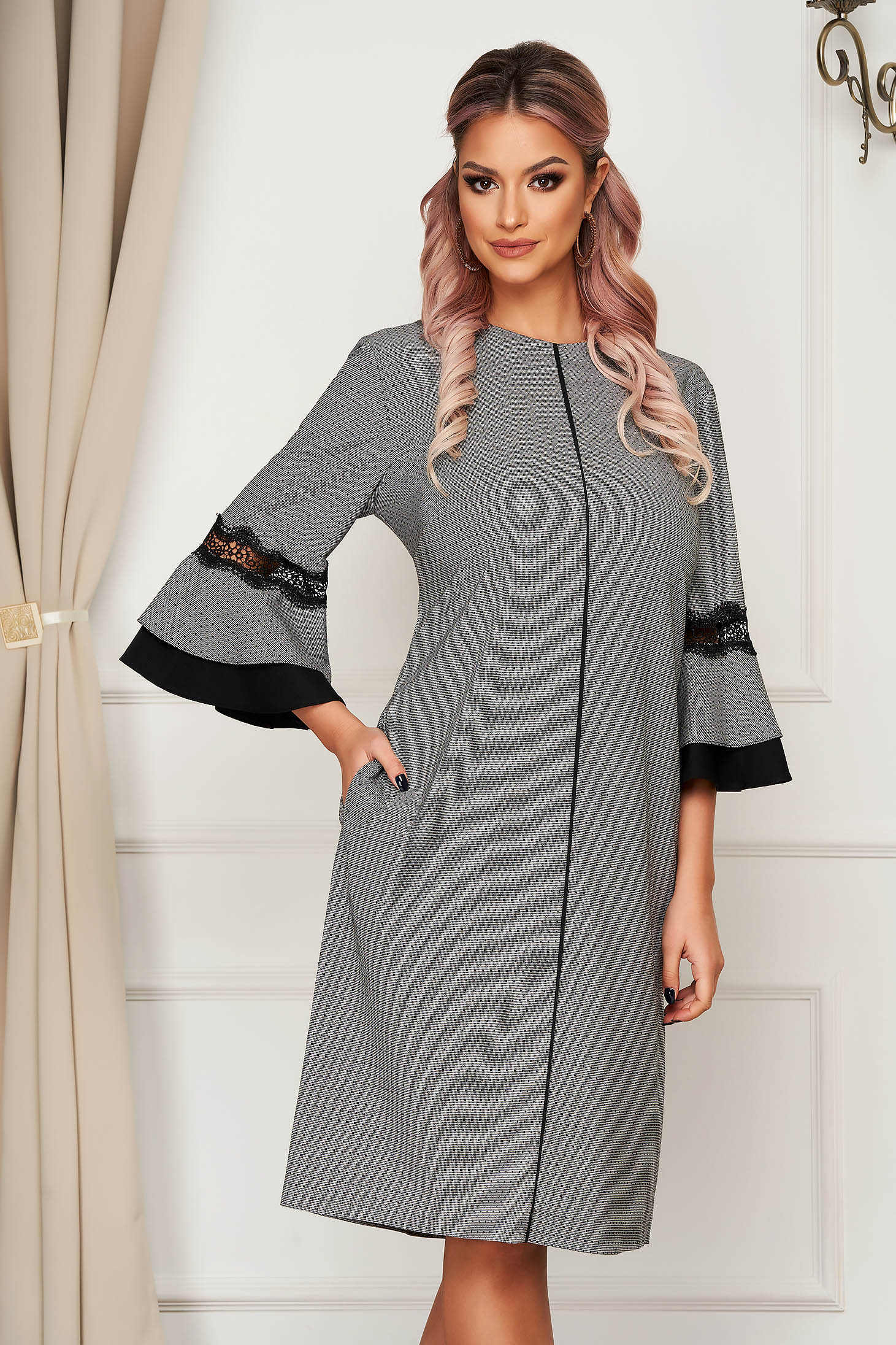 Grey dress midi daily cloth with bell sleeve a-line
