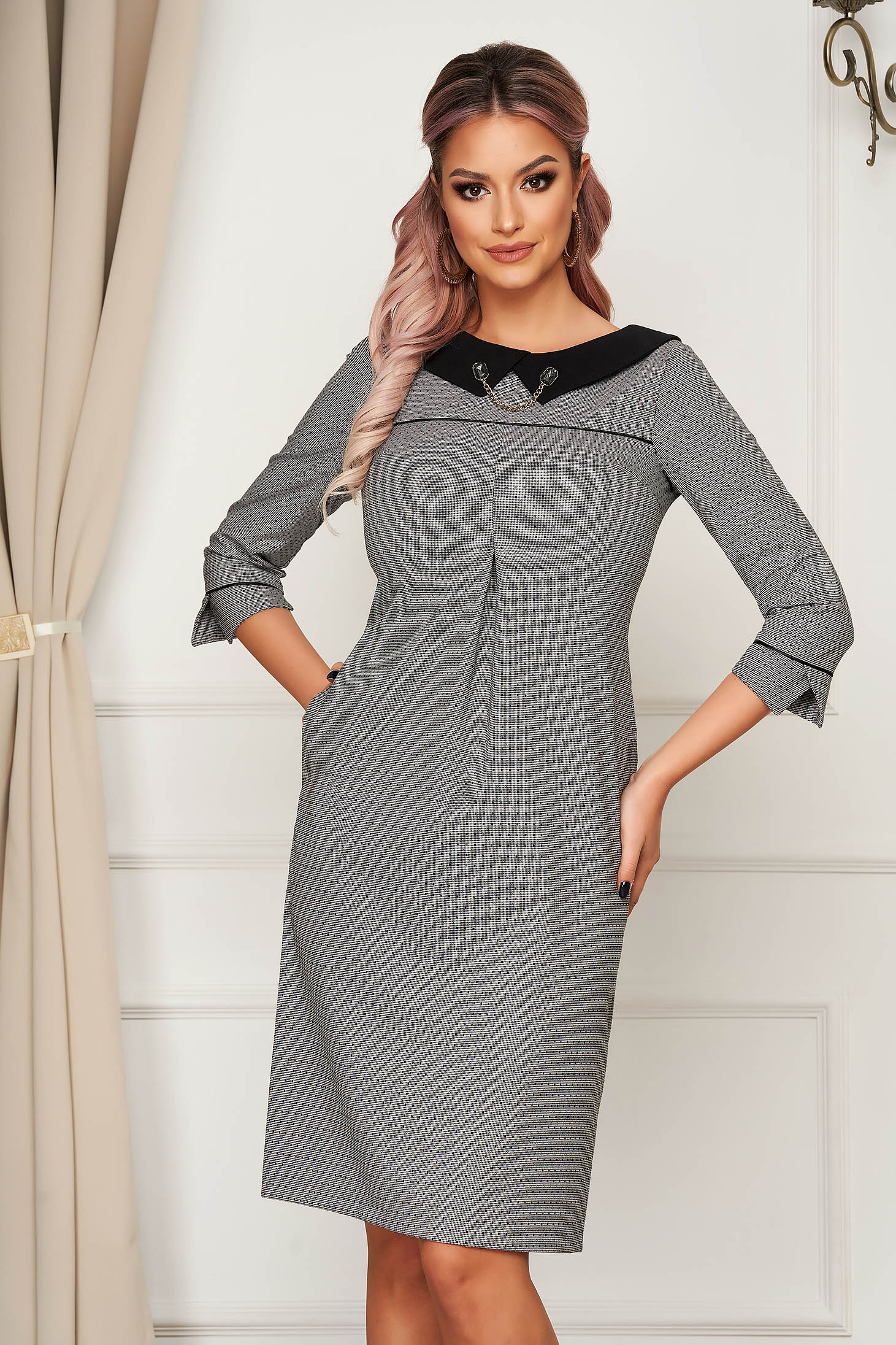 Grey dress office straight slightly elastic fabric with collar metallic details