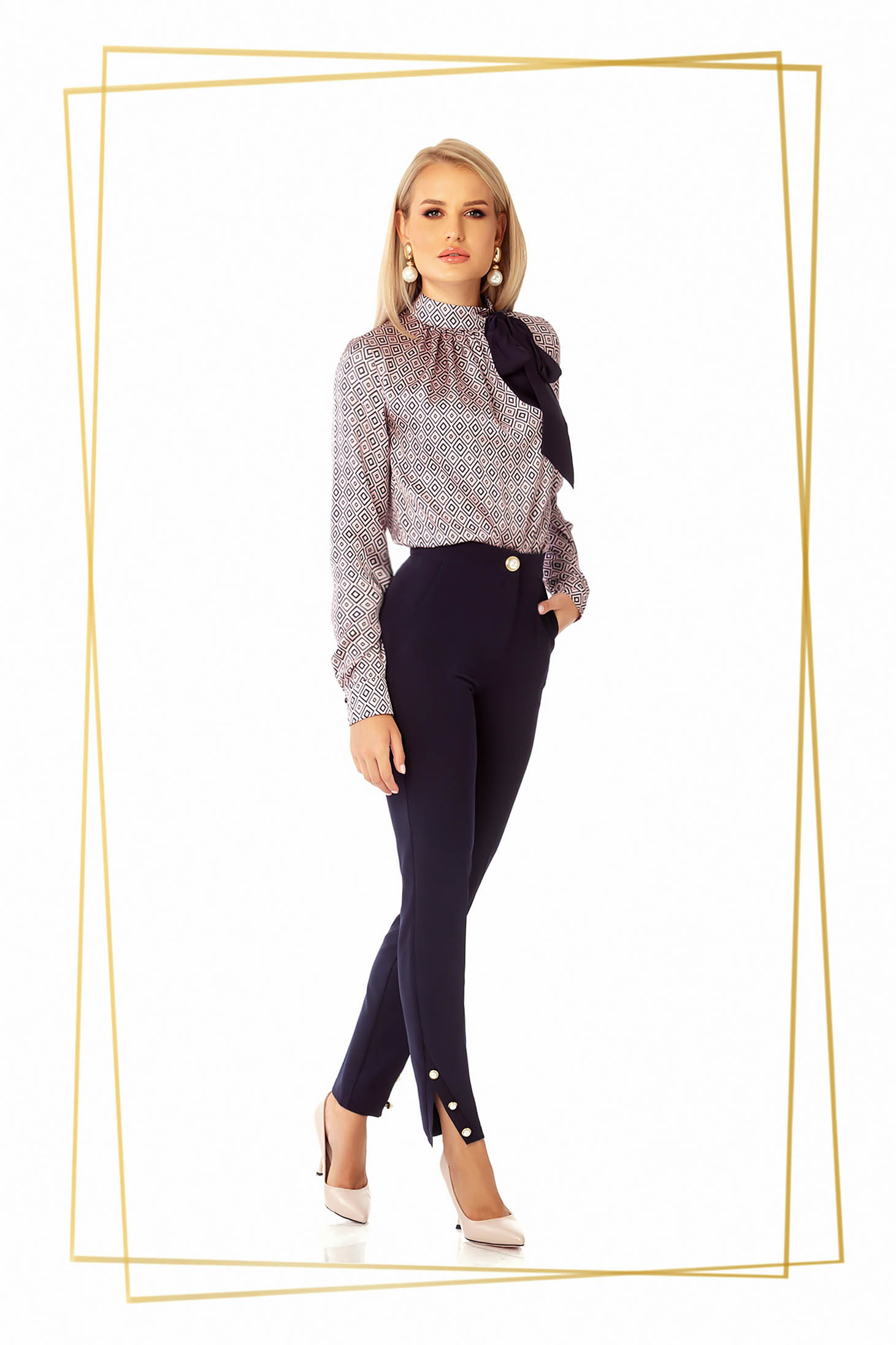 Darkblue trousers office conical medium waist with tented cut cloth